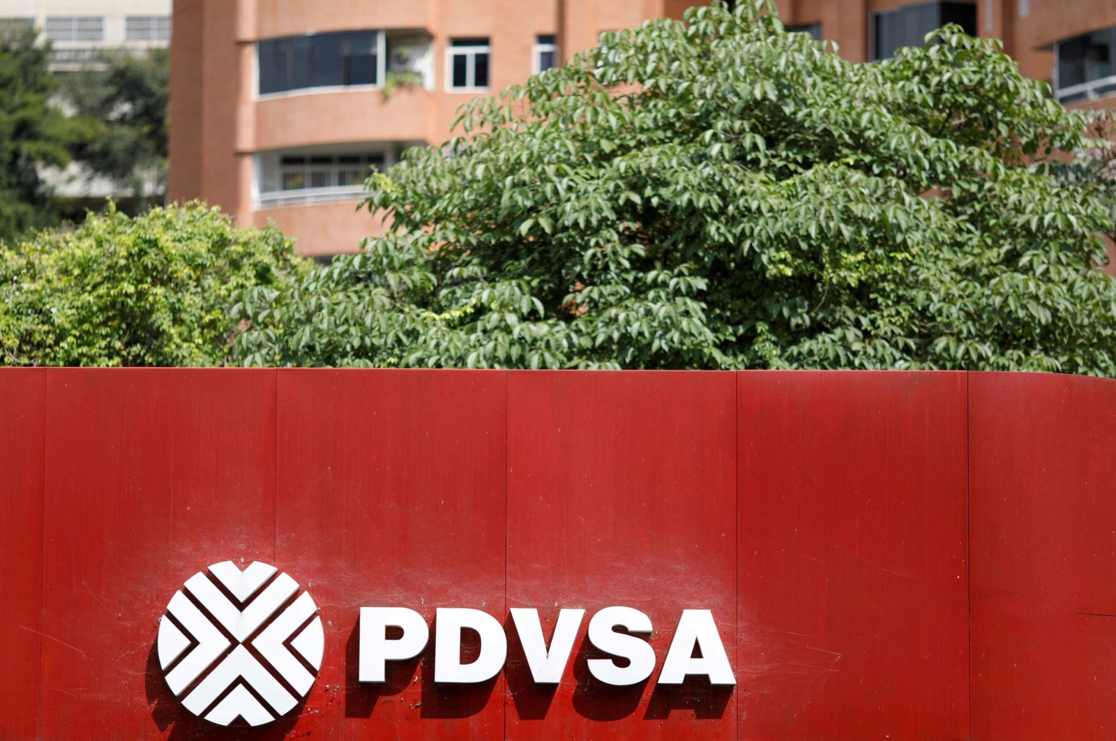 The corporate logo of the state oil company PDVSA is seen at a gas station in Caracas, Venezuela, Nov. 16, 2017. (Reuters Photo)