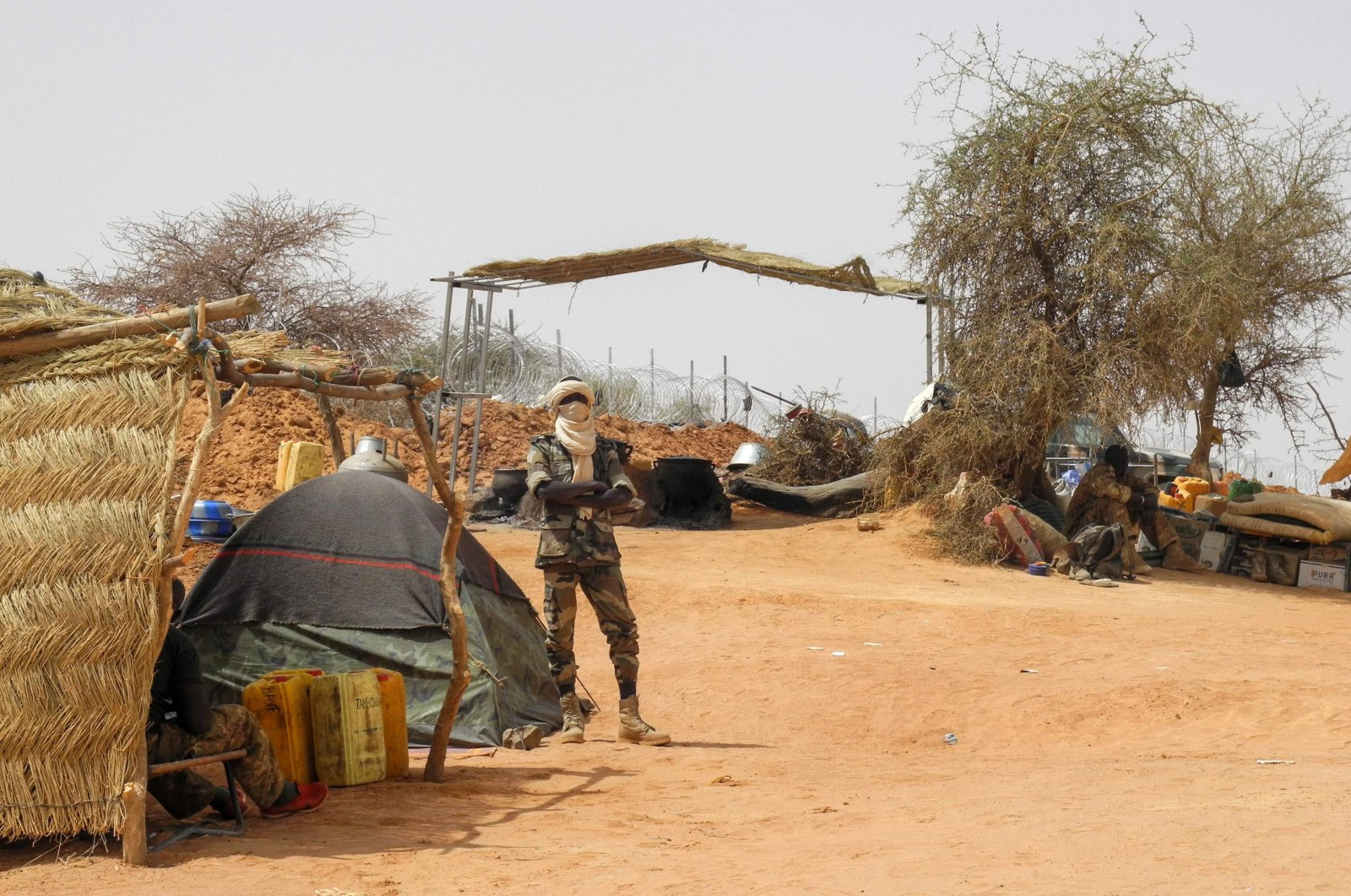 A member of the Malian Army (Fama), is seen at the military base in Anderamboukane, Menaka region, on March 22, 2019. (AFP Photo)