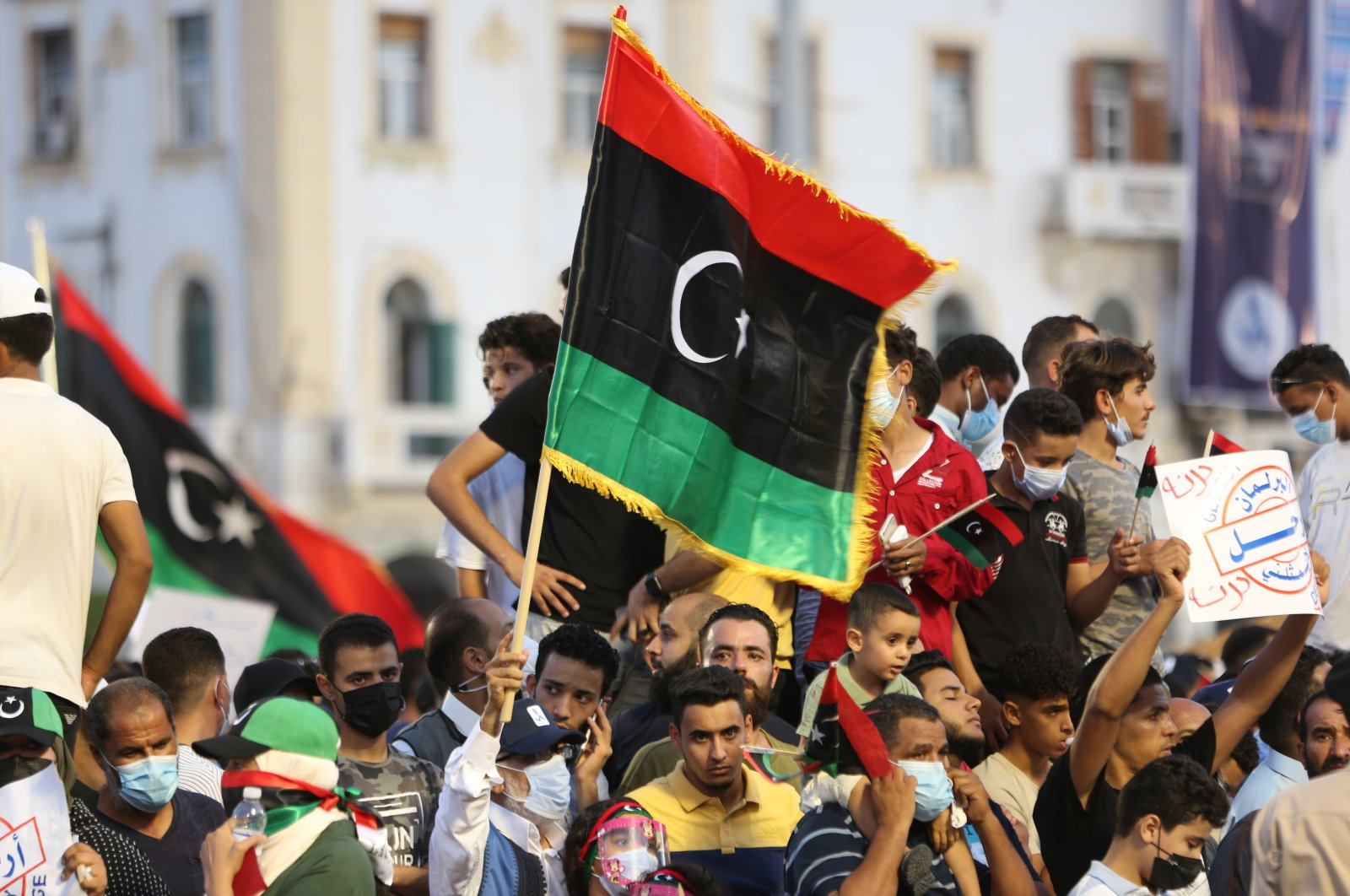 Hundreds of demonstrators protest in Tripoli, Libya, Friday, Sept. 24, 2021, opposing the parliament's vote of no-confidence (AA Photo)