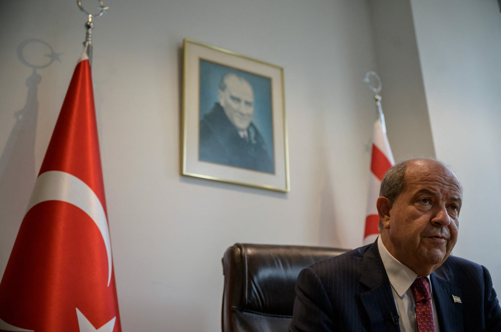 Turkish Cypriot President Ersin Tatar speaks with Agence France-Presse in his office at the Turkish House, in New York, U.S., on Sept. 23, 2021. (AFP Photo)