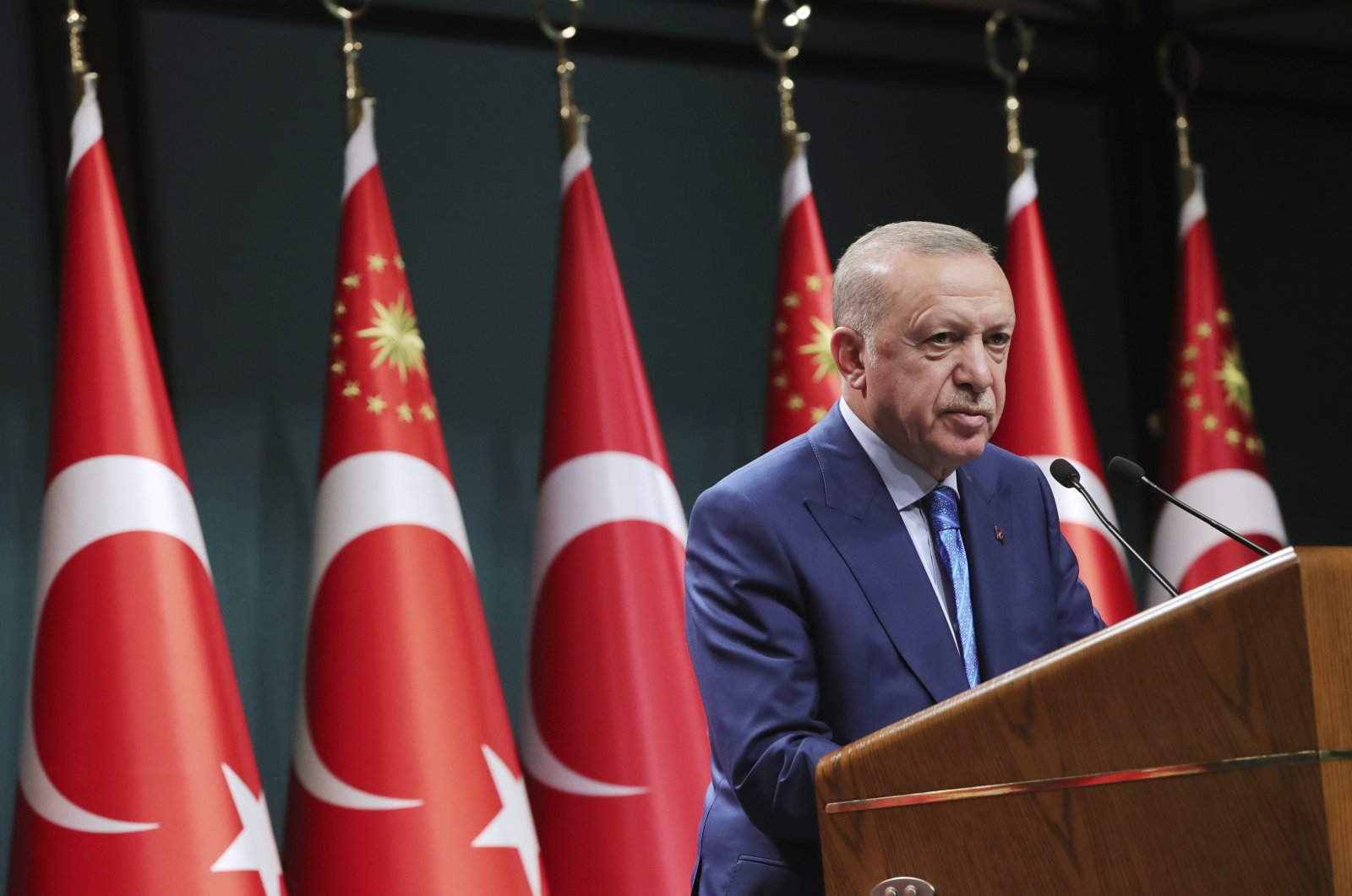 President Recep Tayyip Erdoğan speaks during a televised address following a Cabinet meeting, in Ankara, Turkey, Aug. 19, 2021. (Turkish Presidency via AP, Pool)