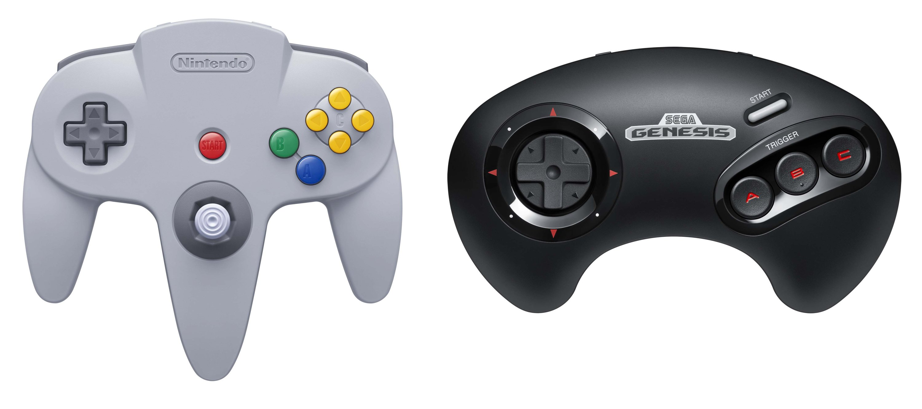 The new wireless Nintendo 64 (L) and Sega Genesis controllers are seen in this promotional photo released by Nintendo (Credit: Nintendo)
