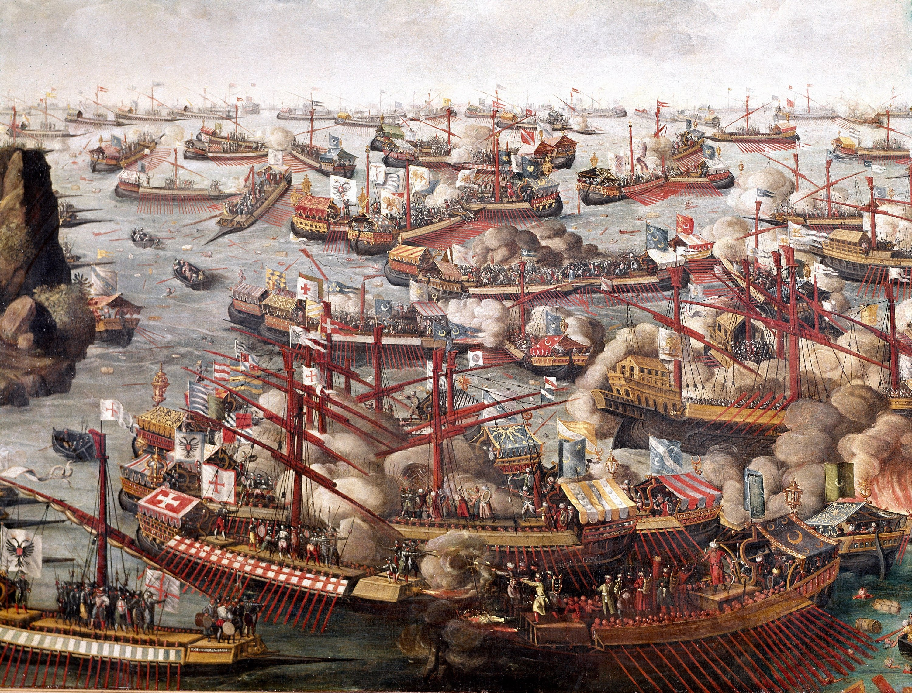 A painting depicting the Battle of Lepanto. (Getty Images)