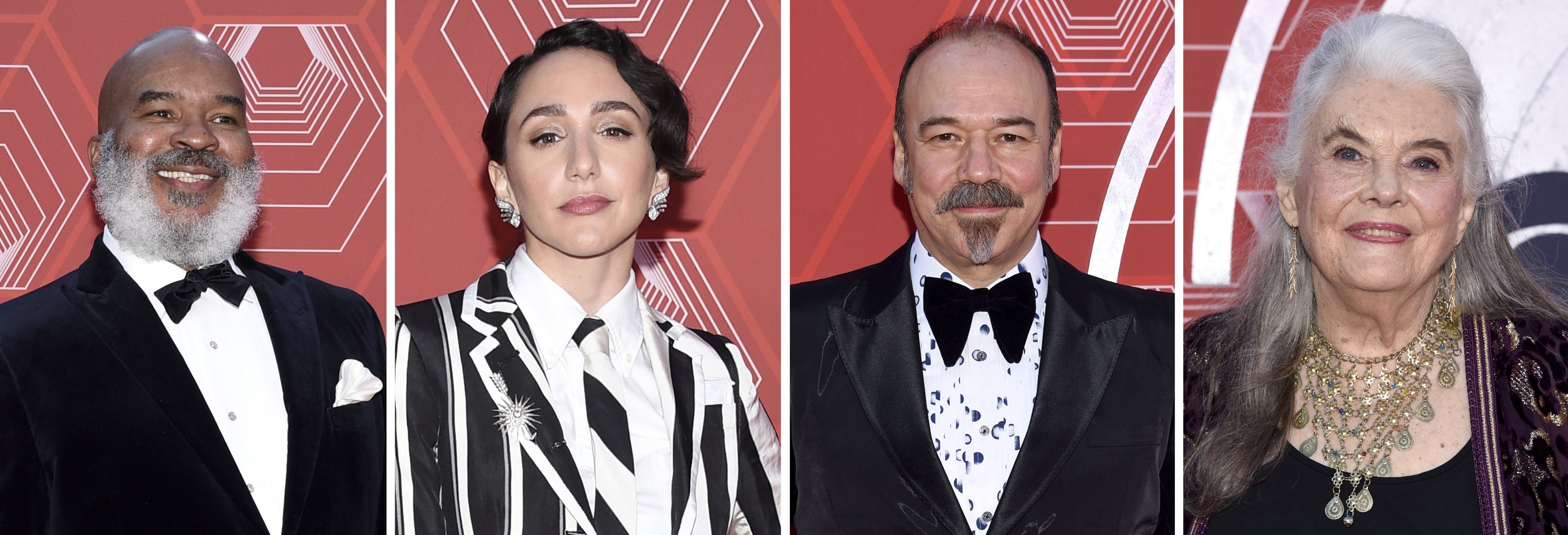 This combination photo shows from left, David Alan Grier, Lauren Patten, Danny Burstein and Lois Smith at the 74th annual Tony Awards at Winter Garden Theater, New York, U.S., Sept. 26, 2021. (AP)