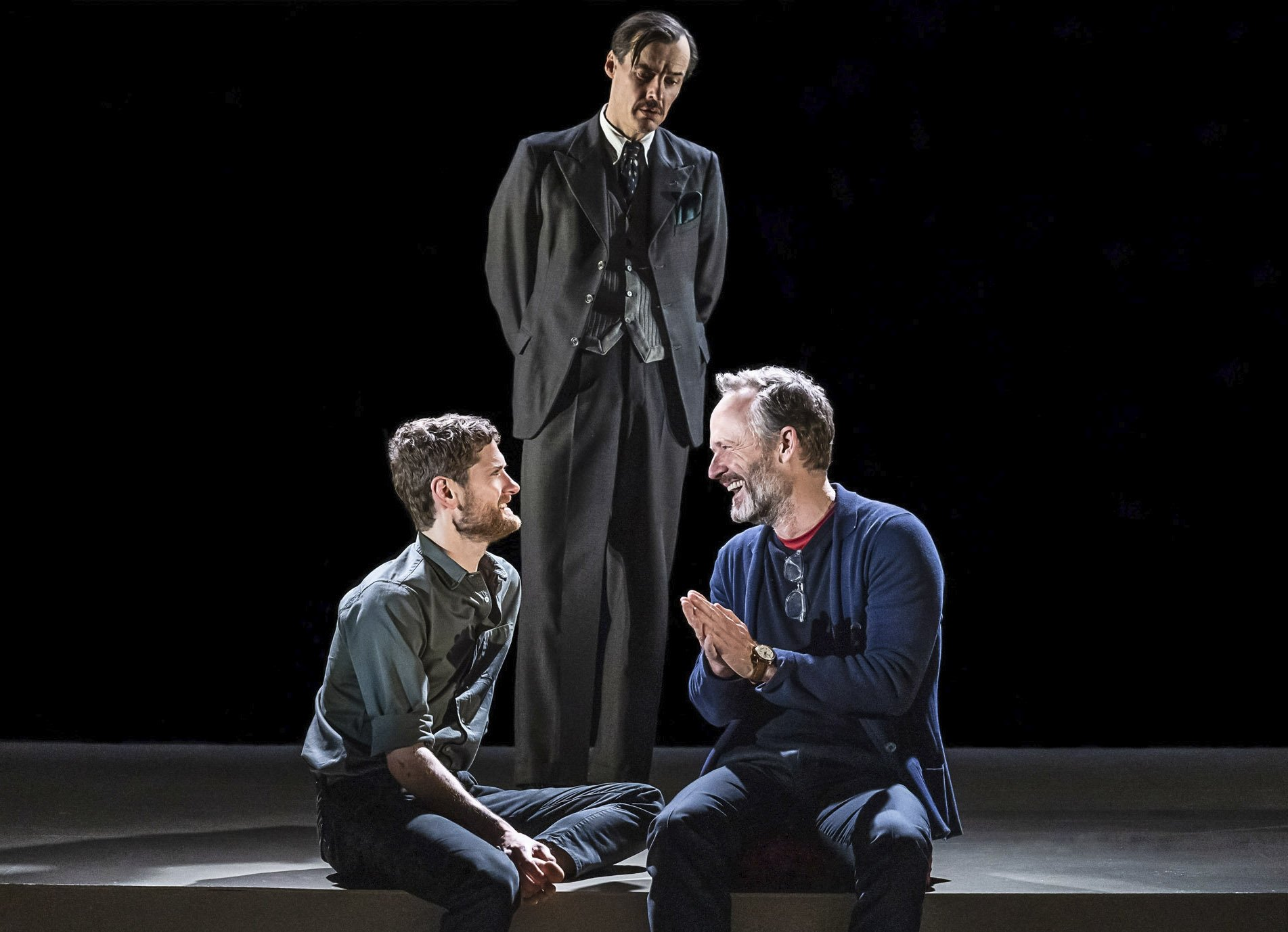 This image released by Polk & Co. shows Kyle Soller, from left, Paul Hilton, and John Benjamin Hickey in 'The Inheritance.' (AP)