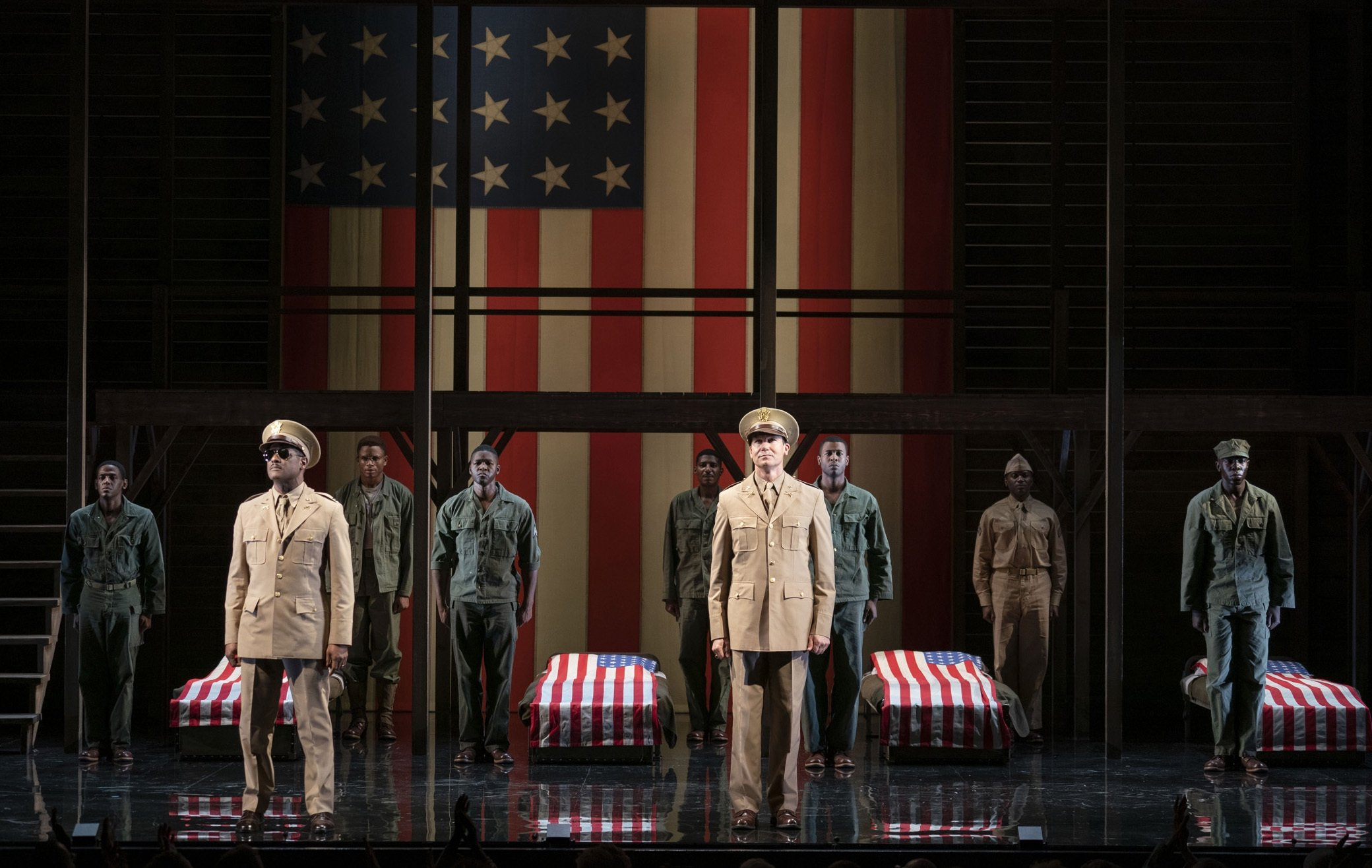This image released by Polk & Co. shows the cast during a performance of 'A Soldier's Play,' in New York. (AP)