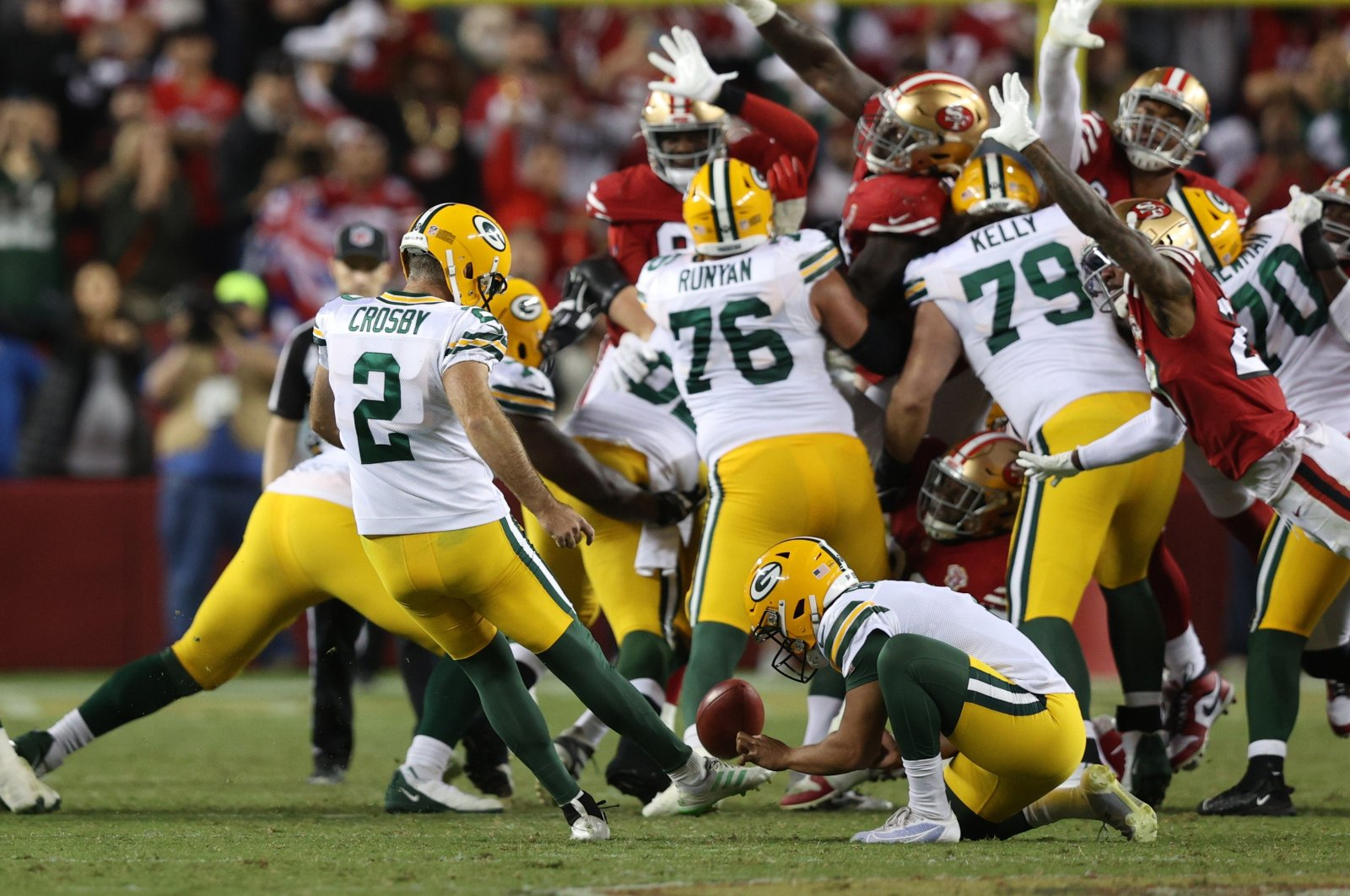 Mason Crosby (2) of the Green Bay Packers kicks the game-winning field goal against the San Francisco 49ers in the game at Levi's Stadium, Santa Clara, California, U.S., Sept. 26, 2021. (AFP Photo)