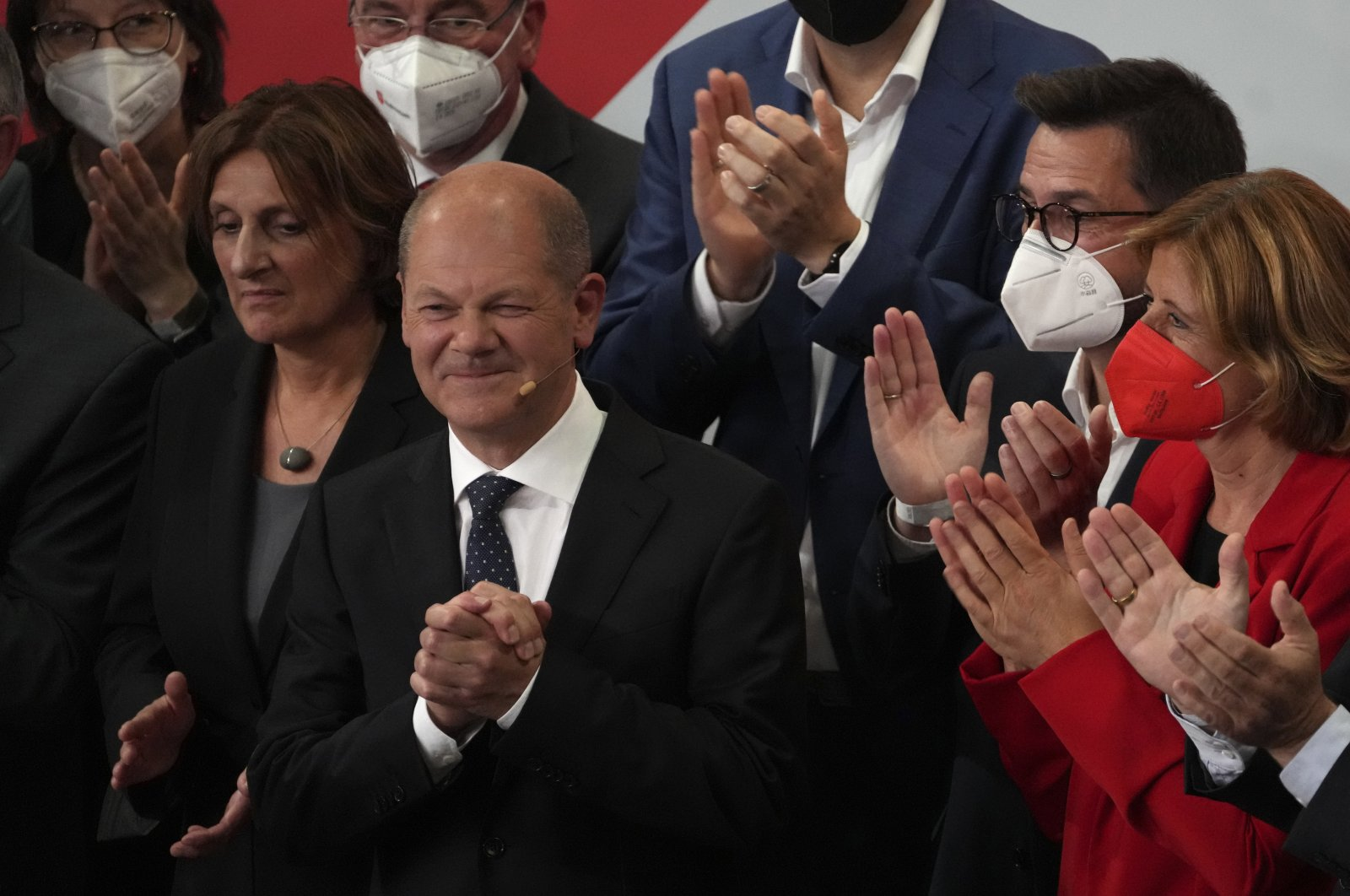Olaf Scholz, finance minister and Social Democratic Party (SDP) candidate for chancellor, after addressing his supporters after the German parliament election at the SPD headquarters in Berlin, Germany, Sept. 26, 2021. (AP Photo)