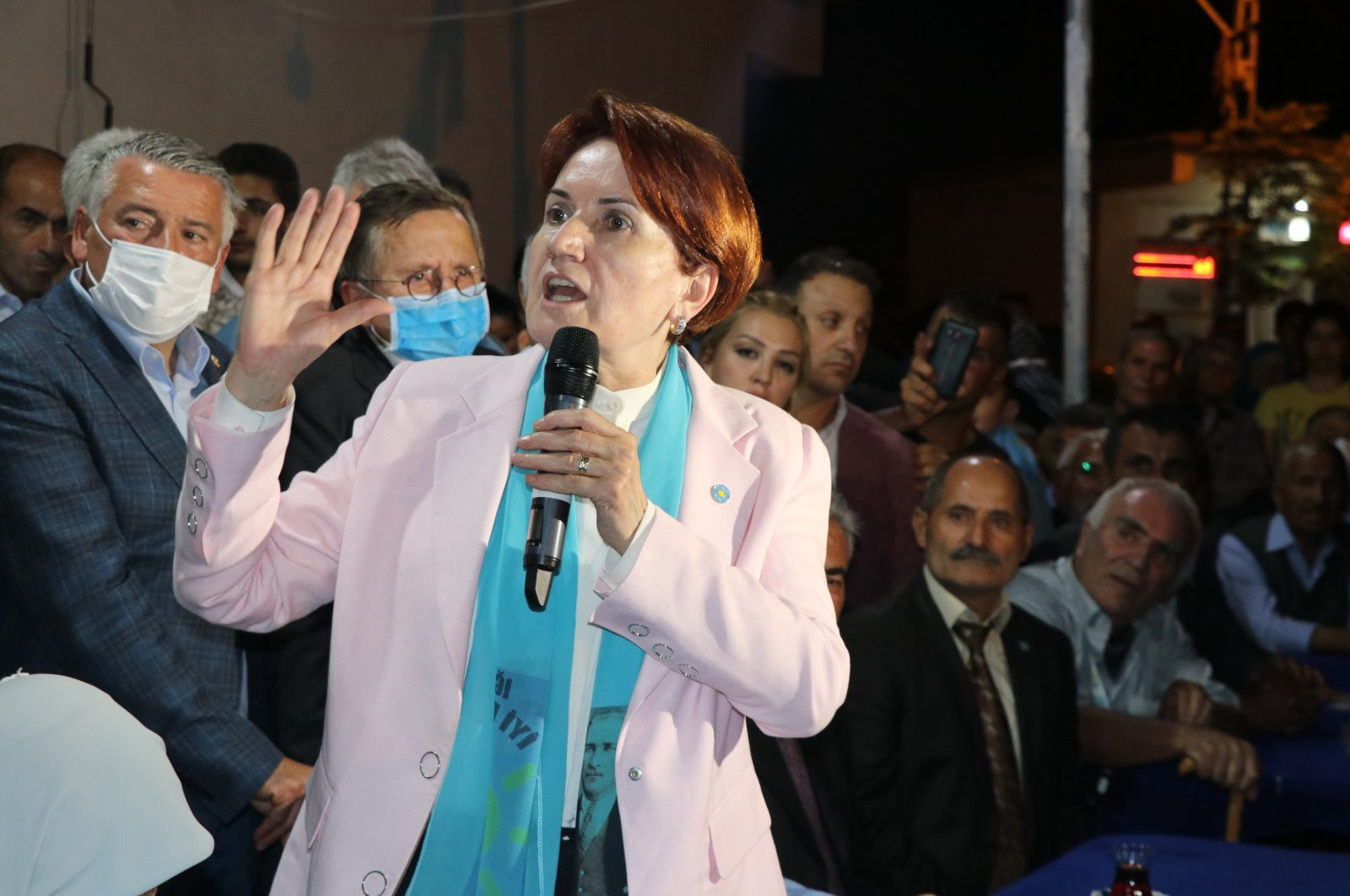 IP Chairperson Meral Akşener meets with shopkeepers in Iğdır province, Turkey, Sept. 15, 2021. (AA File Photo)