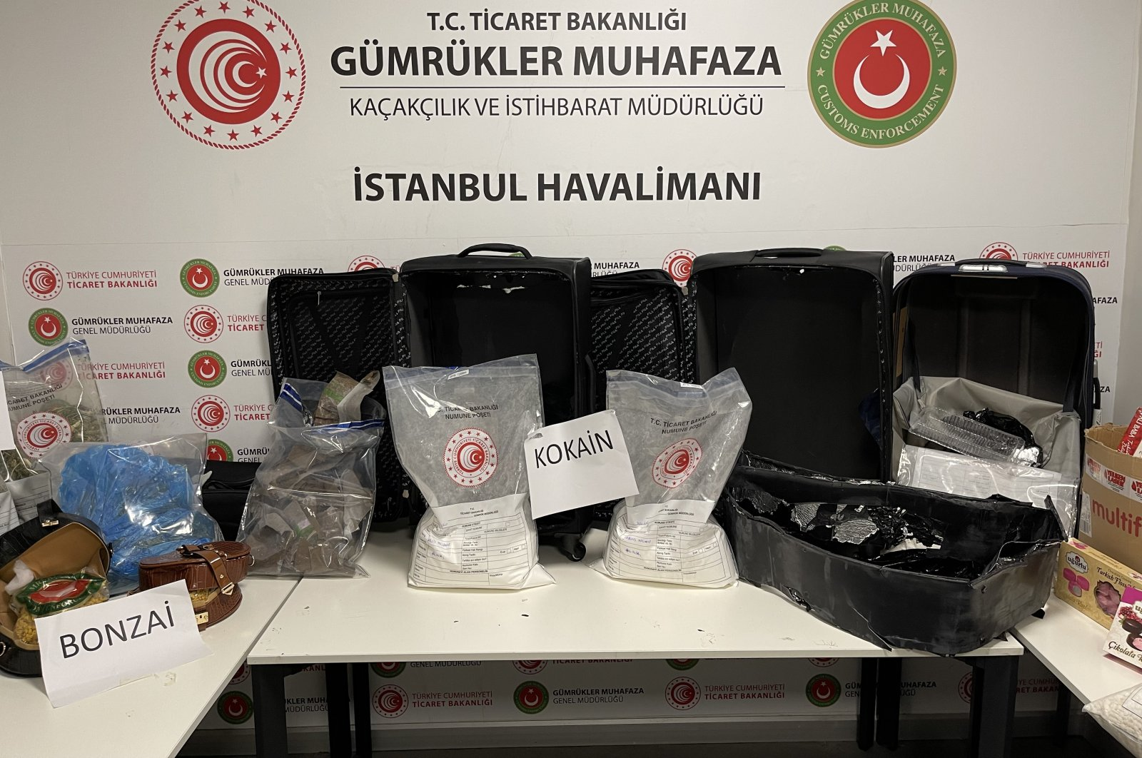 A view of the drugs and other materials seized by the customs officals at Istanbul Airport, Istanbul, Turkey, Sept. 27, 2021. (AA Photo)
