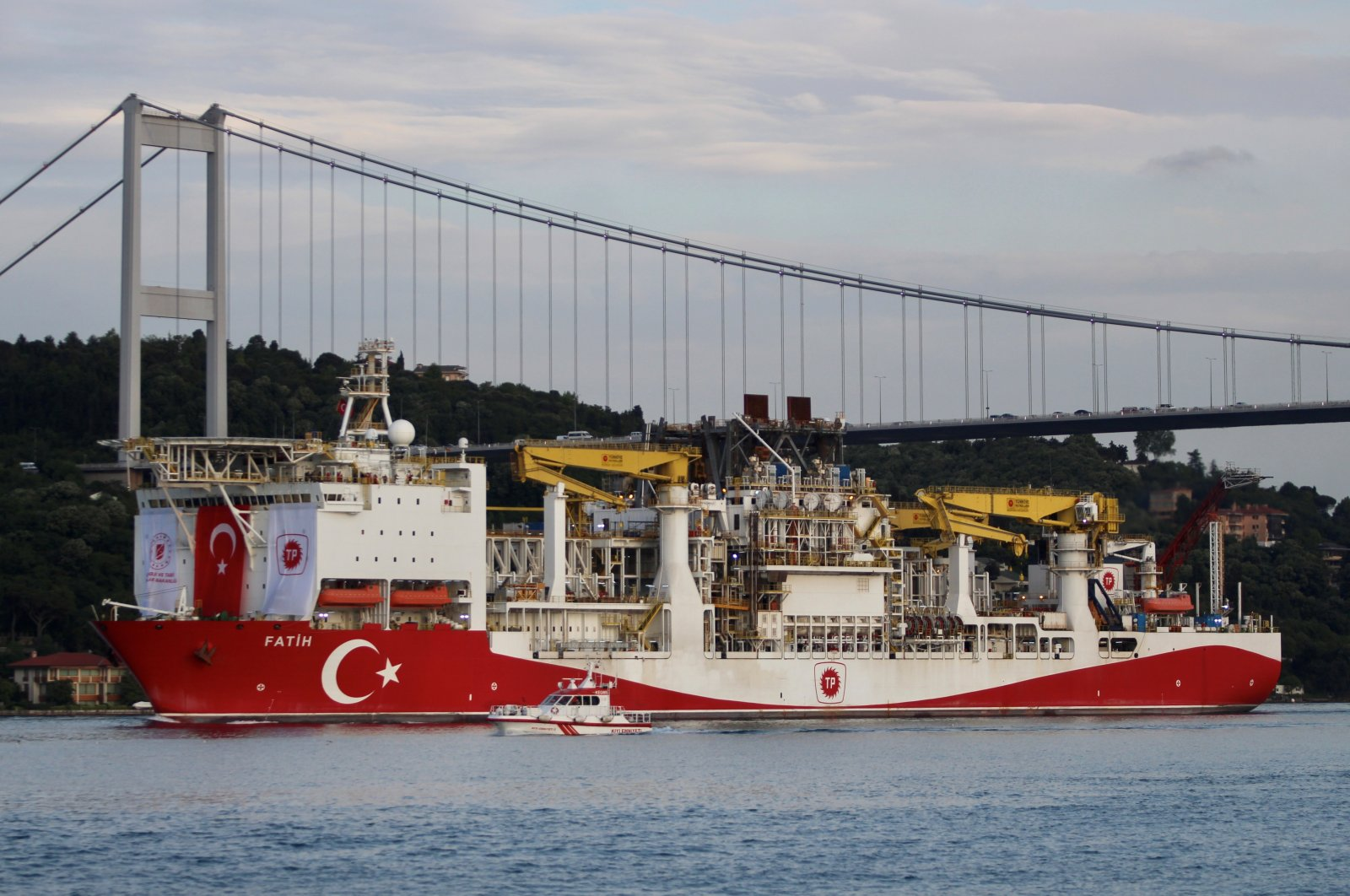 Turkey's drilling vessel Fatih sails in the Bosporus, on its way to the Black Sea, Istanbul, Turkey, May 29, 2020. (Reuters Photo)