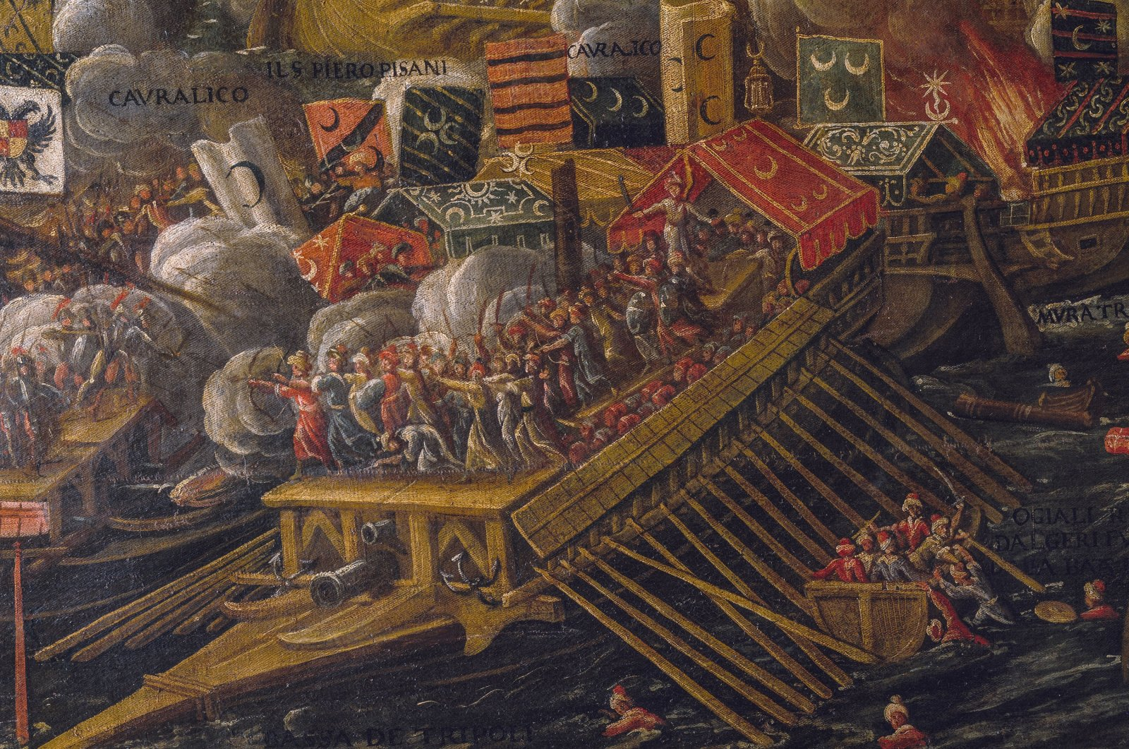 A painting depicting a Turkish warship during the Battle of Lepanto. (Getty Images)