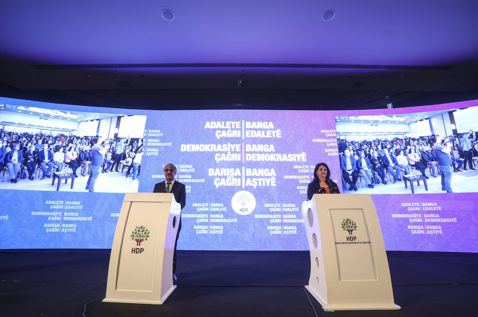 HDP Co-Chairpersons Mithat Sancar and Pervin Buldan speak at meeting to announce their party platform for the 2023 elections in Turkey's capital Ankara, Sept. 27, 2021. (AA Photo)