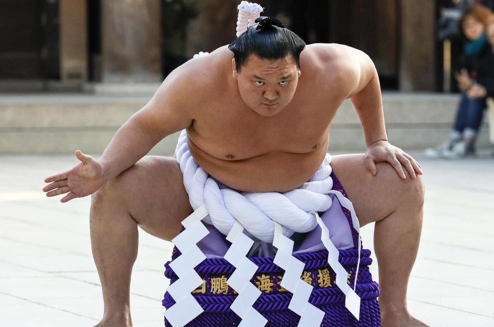 Mongolian-born grand sumo champion yokozuna Hakuho performs the New Year's ring-entering rite at the annual celebration for the New Year at Meiji Shrine in Tokyo, Japan, Jan. 9, 2018. (EPA Photo).
