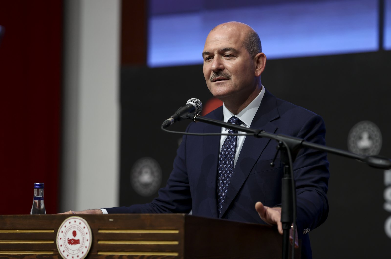 Interior Minister Süleyman Soylu speaks at a security and intelligence meeting, Sept. 23, 2021. (AA Photo)