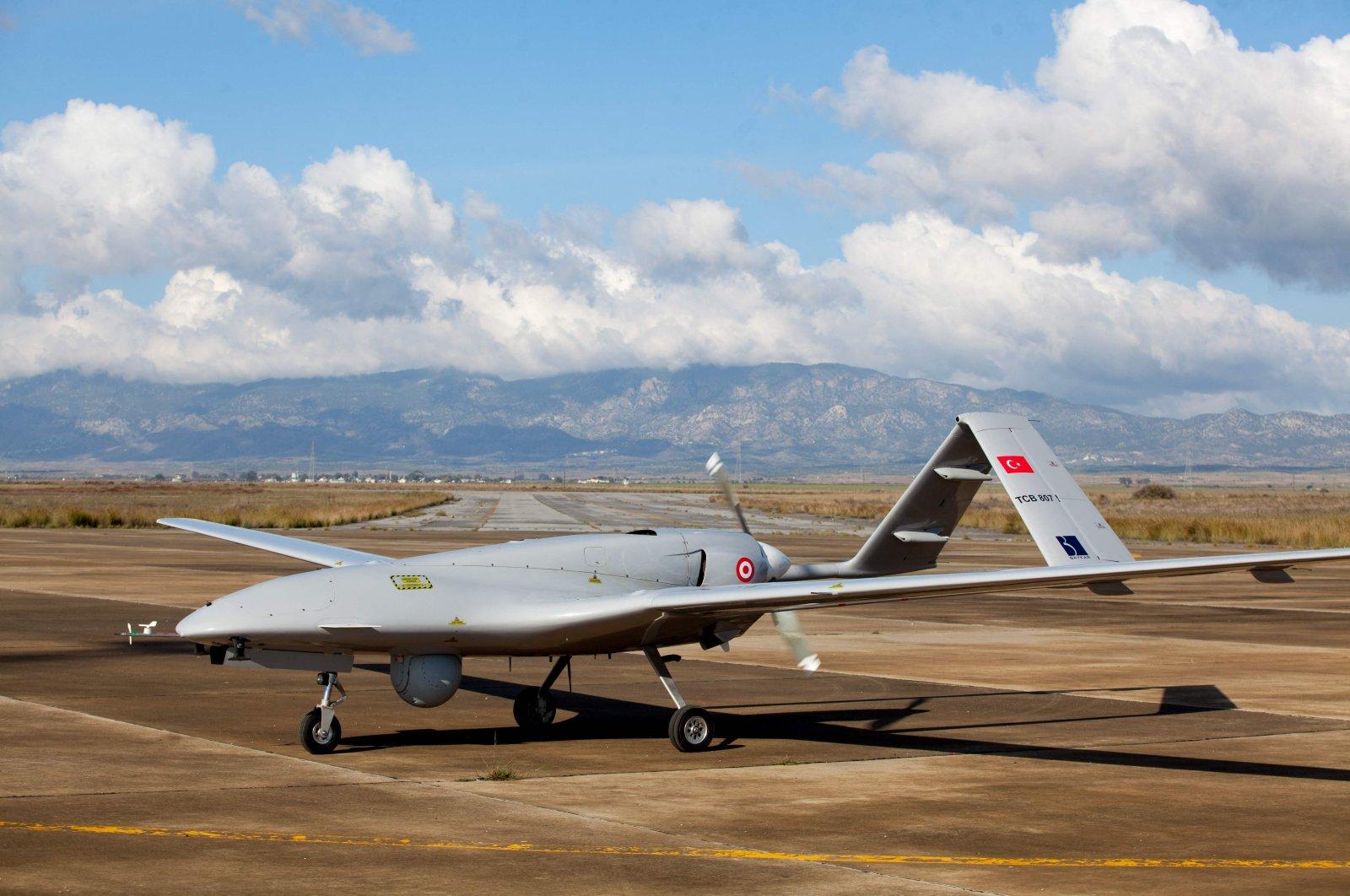 A Turkish-made Bayraktar TB2 drone stands at the Geçitkale military air base near Famagusta, Turkish Republic of Northern Cyprus, Dec. 16, 2019. (AFP Photo)