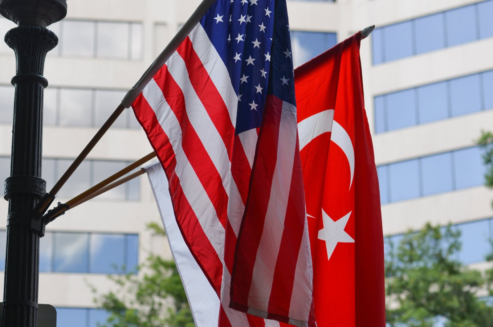 Turkish and American national flags on a flagpole. (Shutterstock Photo)