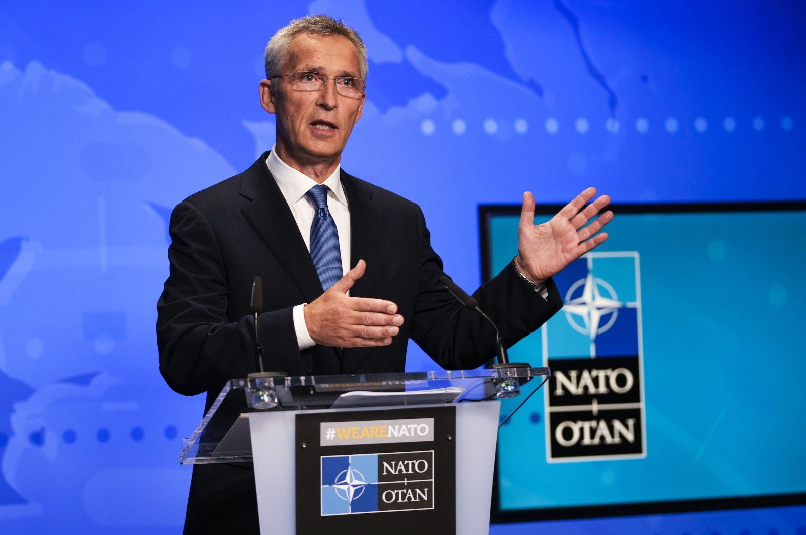 NATO Secretary General Jens Stoltenberg gestures during an online news conference at NATO headquarters in Brussels, Aug. 20, 2021. (AP Photo)