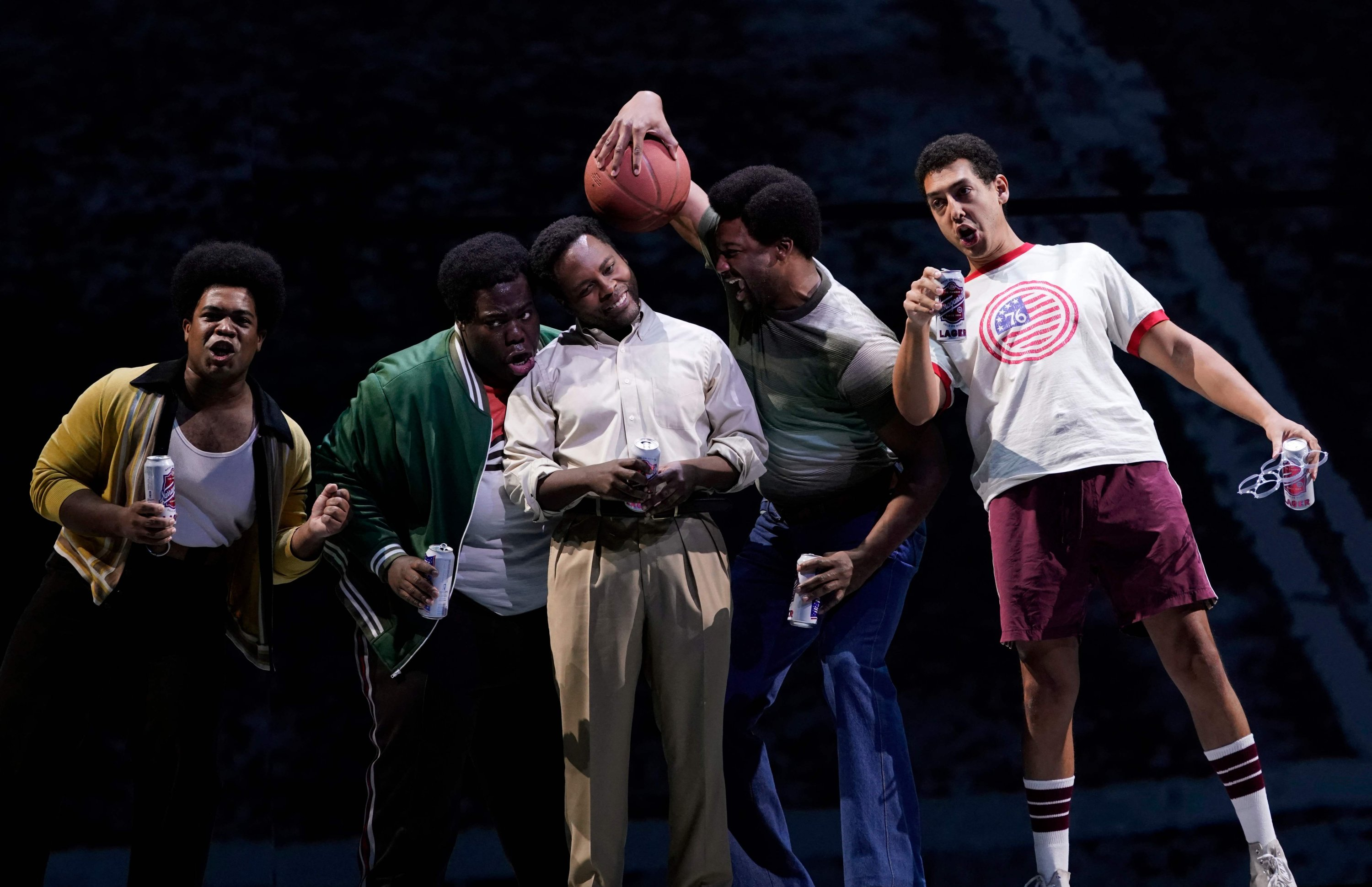 Actor Will Liverman (C) and cast members perform a scene during a rehearsal for Terence Blanchard's 'Fire Shut Up in My Bones,' at the Metropolitan Opera in New York, Sept. 24, 2021. (AFP Photo)