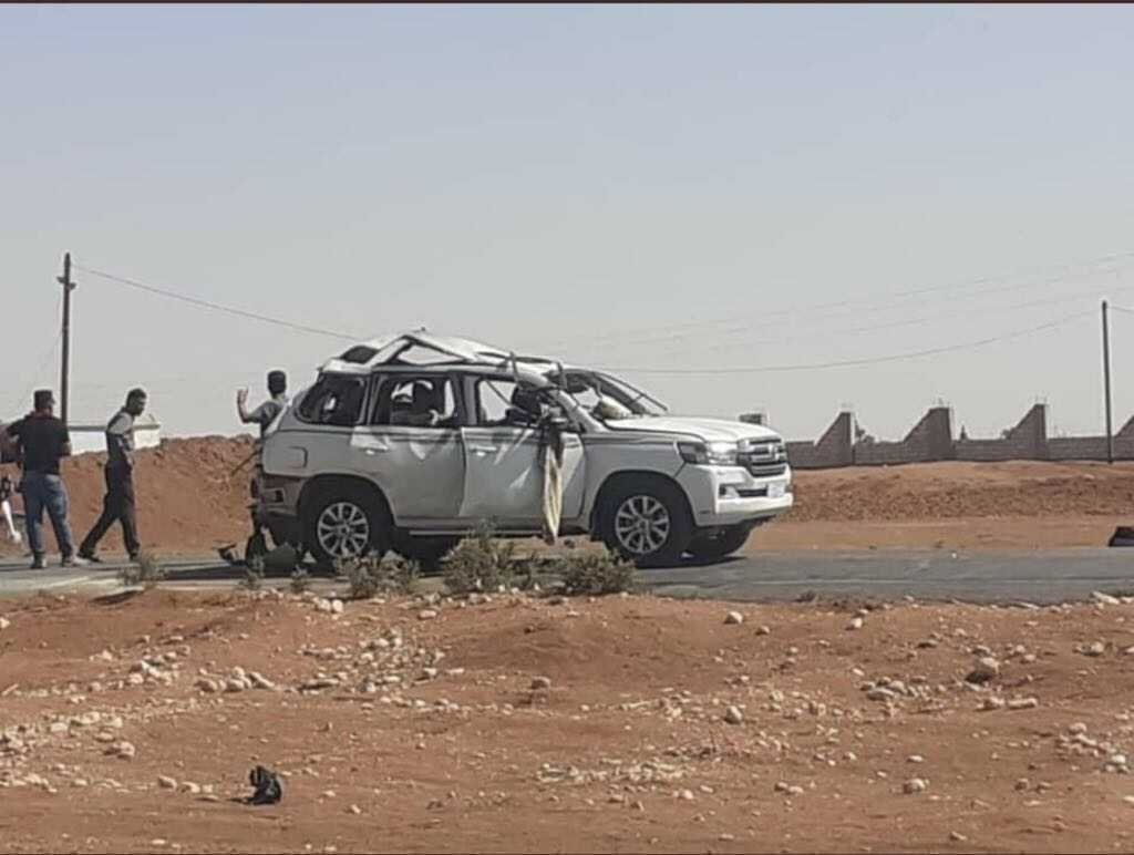 The car carrying a senior PKK terrorist was targeted during a Turkish operation in Qamishli, northeastern Syria, Sept. 28, 2021. (AA Photo)