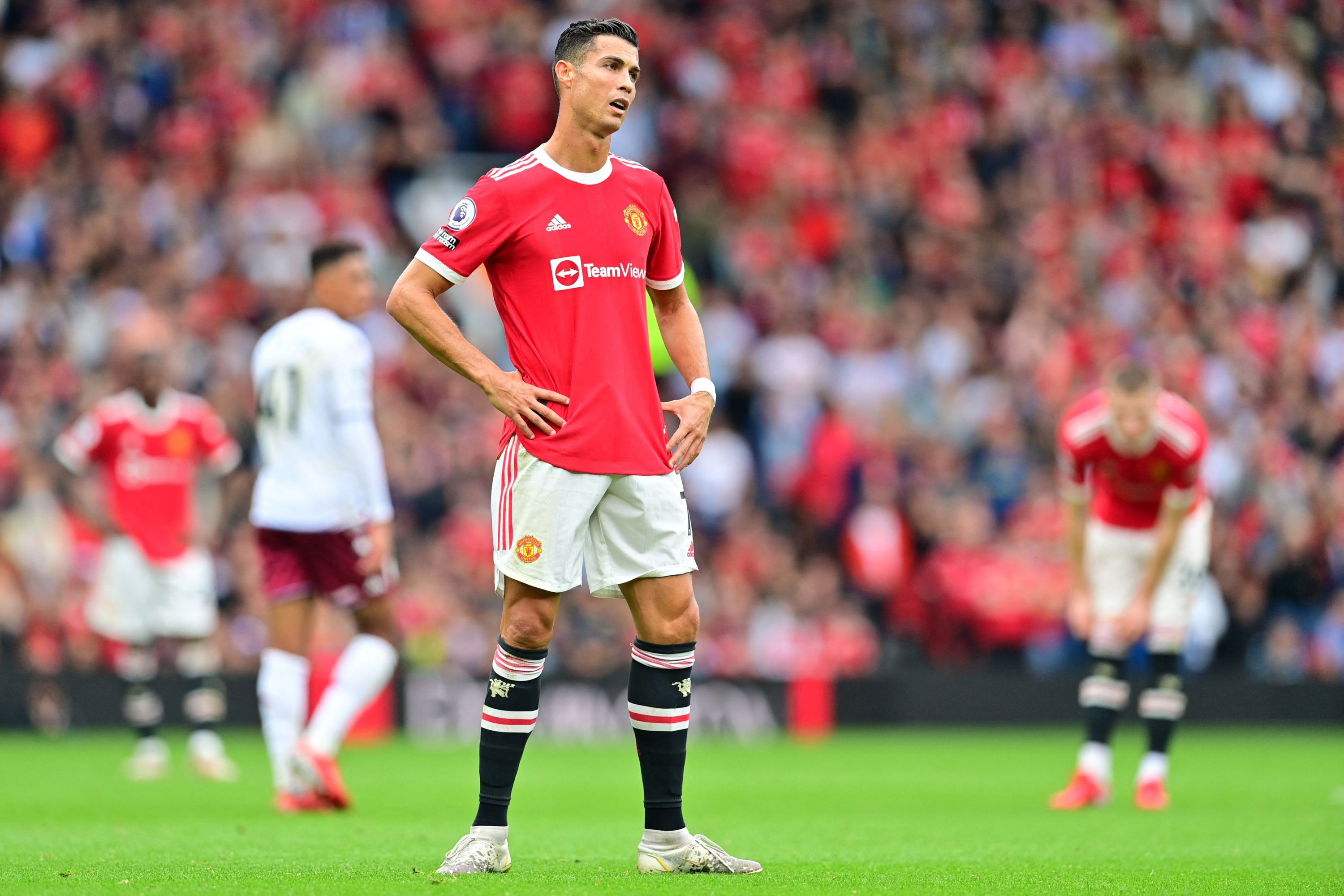 Manchester United's Portuguese striker Cristiano Ronaldo reacts during a Premier League football match against Aston Villa at Old Trafford in Manchester, England, Sept. 25, 2021. (AFP Photo)