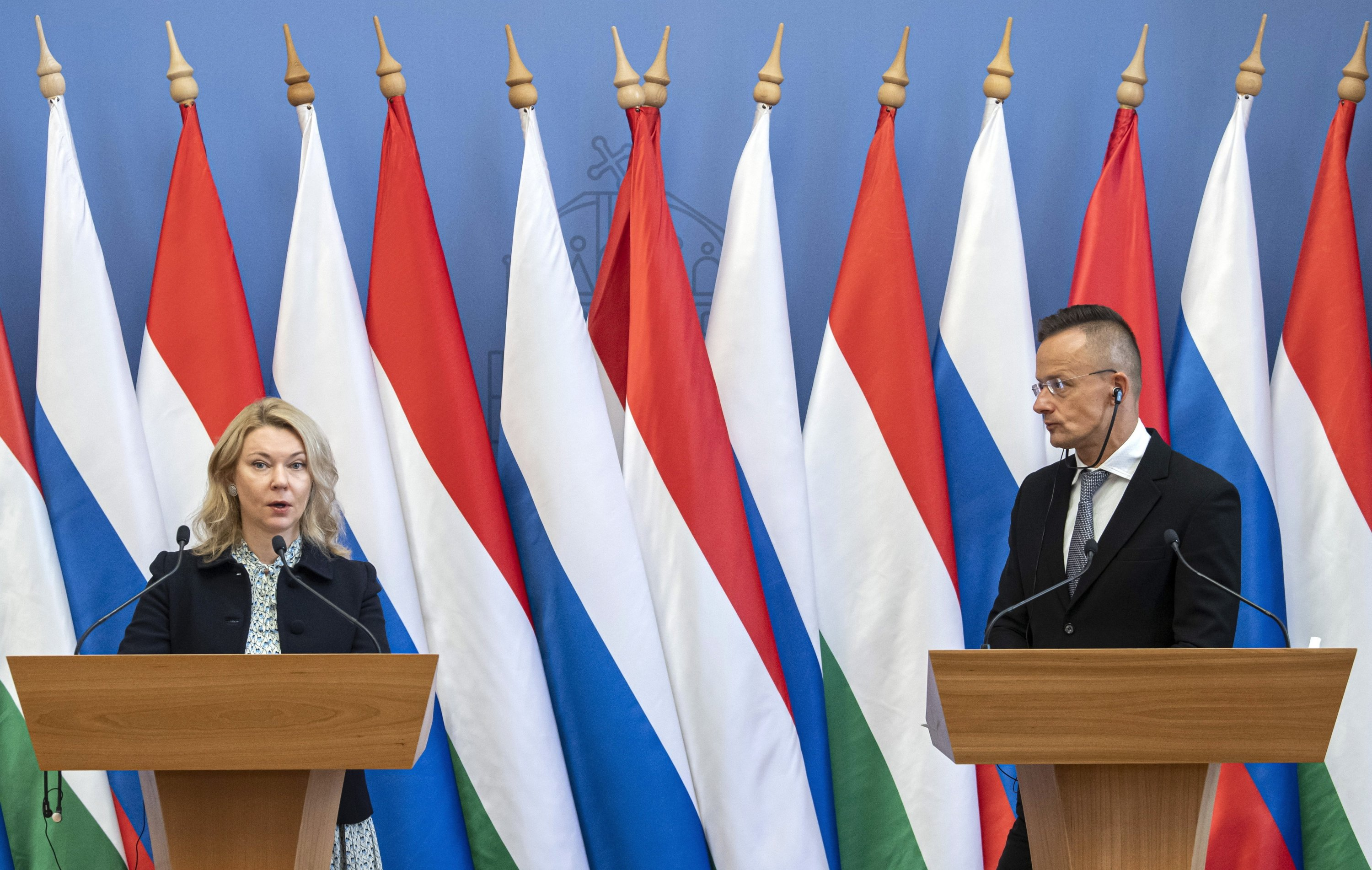 Hungarian Foreign Minister Peter Szijjarto (R) and Gazprom Deputy Chairperson Elena Burmistrova hold a joint press conference after signing a long-term gas purchase agreement in Budapest, Hungary, Sept. 27, 2021. (EPA Photo)