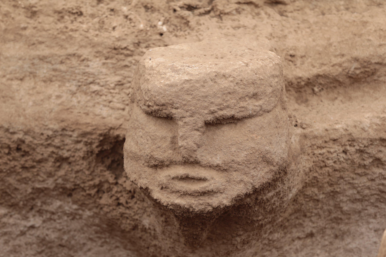 A megalith with human depiction in Karahantepe, Şanlıurfa, southeastern Turkey, Sept. 24, 2021. (AA Photo)