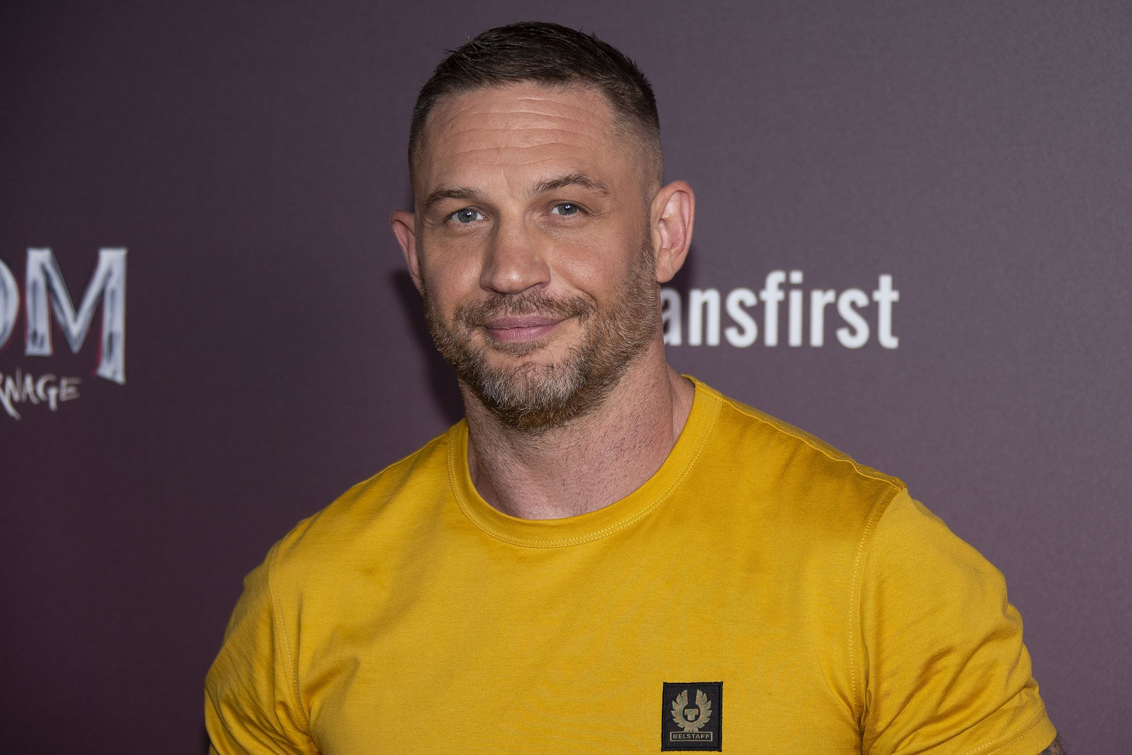 Tom Hardy poses for photographers during a photo call for his film 'Venom: Let There Be Carnage,' ahead of a screening at a central London cinema, in London, U.K., Sept. 14, 2021. (AP Photo)