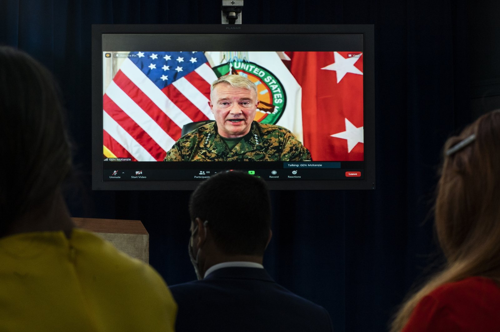 Gen. Frank McKenzie, Commander of U.S. Central Command, appearing onscreen from MacDill Air Force Base, in Tampa, Fla., speaks about Afghanistan during a virtual briefing at the Pentagon in Washington, D.C., U.S.,  Aug. 30, 2021. (AP Photo)