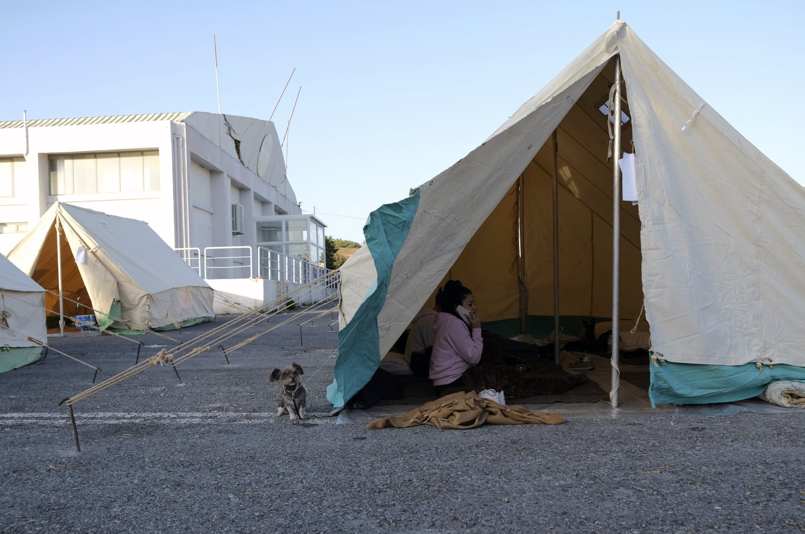 A woman speaks on her cellphone as a dog stands outside a tent in Arkalochori village on the southern island of Crete, Greece, Tuesday, Sept. 28, 2021. (AP Photo)