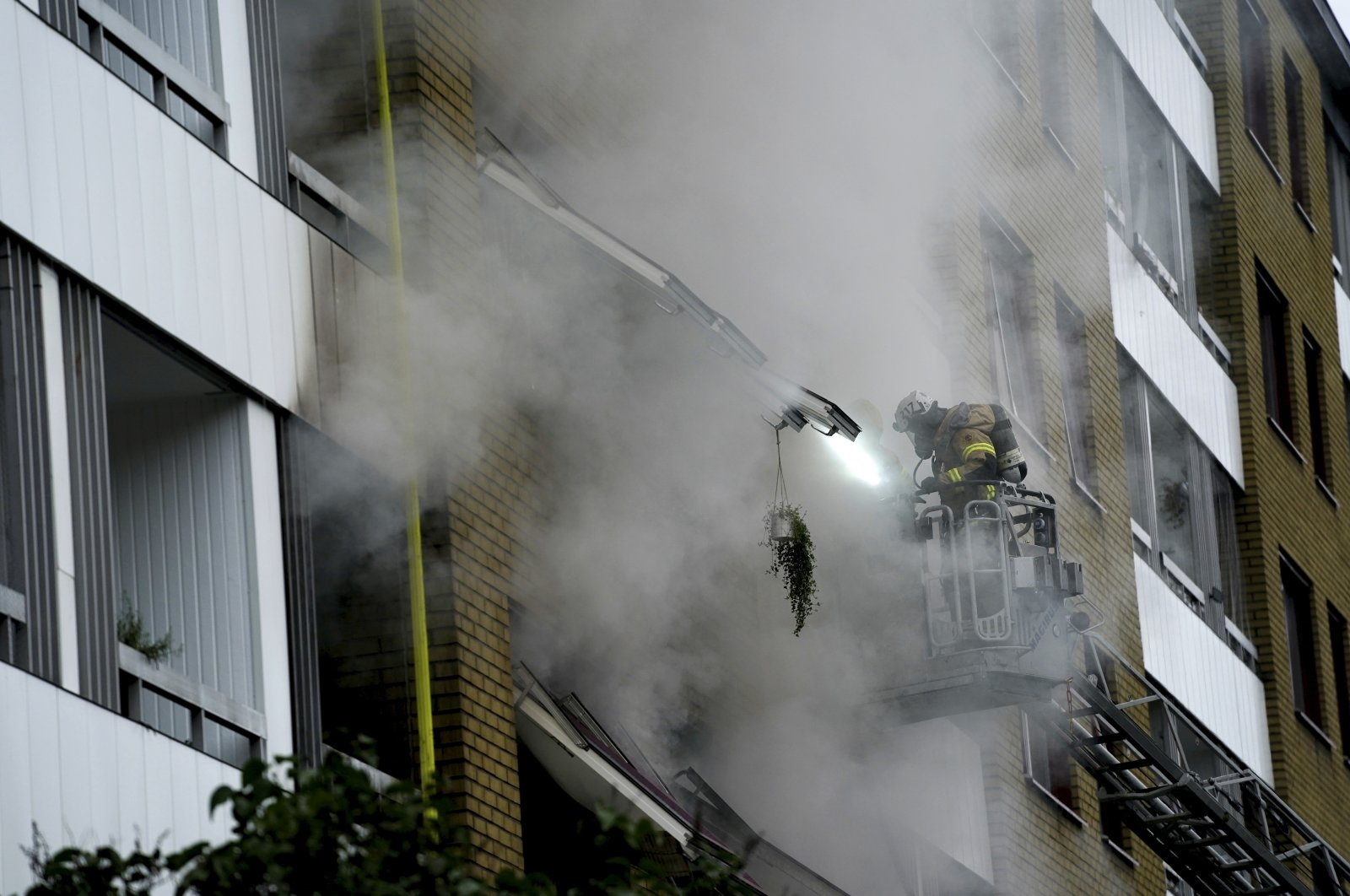 The aftermath of an explosion at an apartment building in the Annedal district of Gothenburg, Sweden, Sept. 28, 2021. (EPA-EFE Photo)