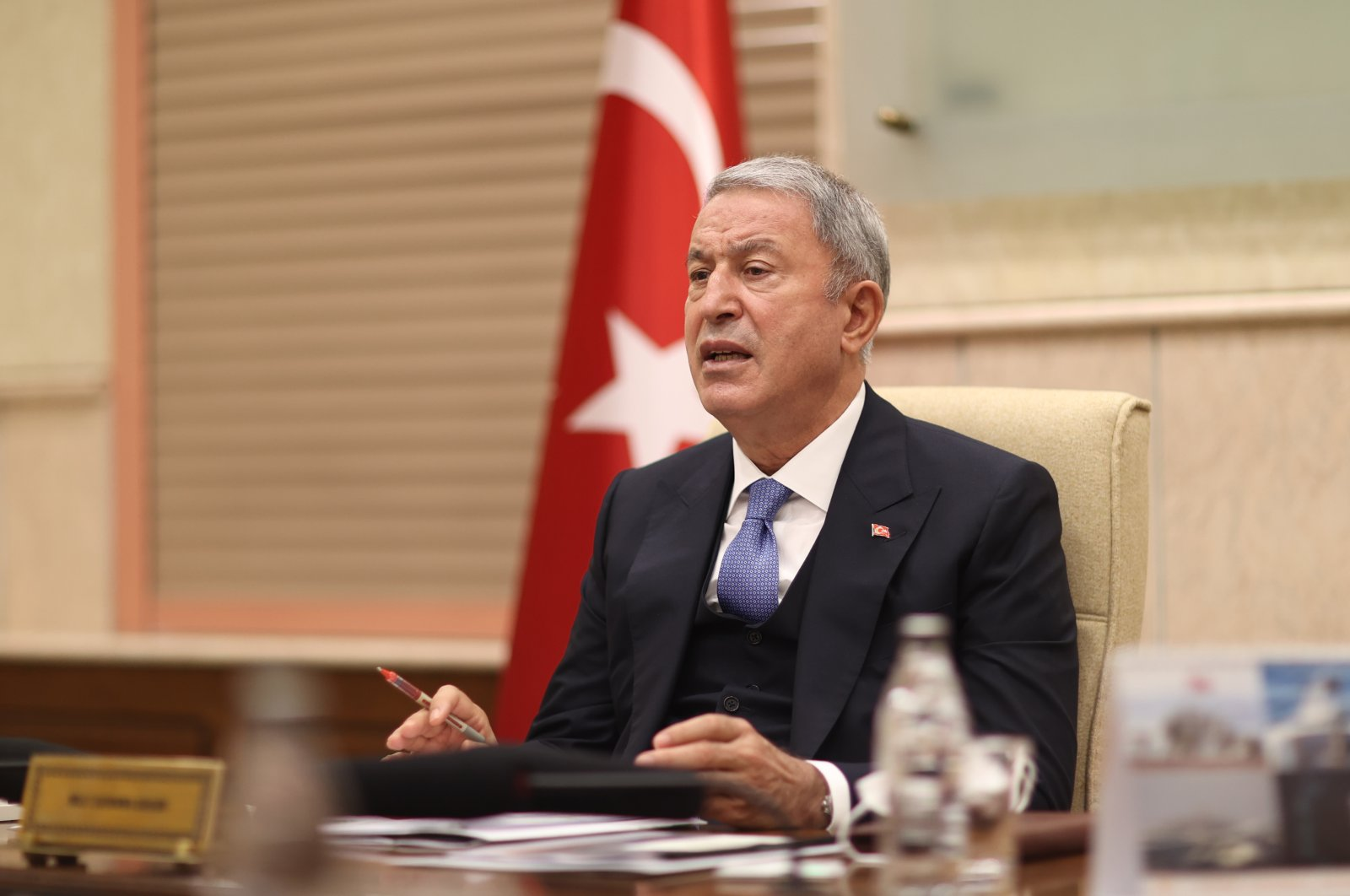 Defense Minister Hulusi Akar speaks during a videoconference with military officials, Sept. 27, 2021 (AA Photo)