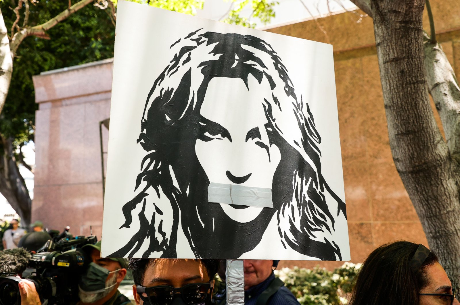Activists protest at Los Angeles Grand Park during a conservatorship hearing for Britney Spears, in Los Angeles, California, U.S., June 23, 2021. (Getty Images)