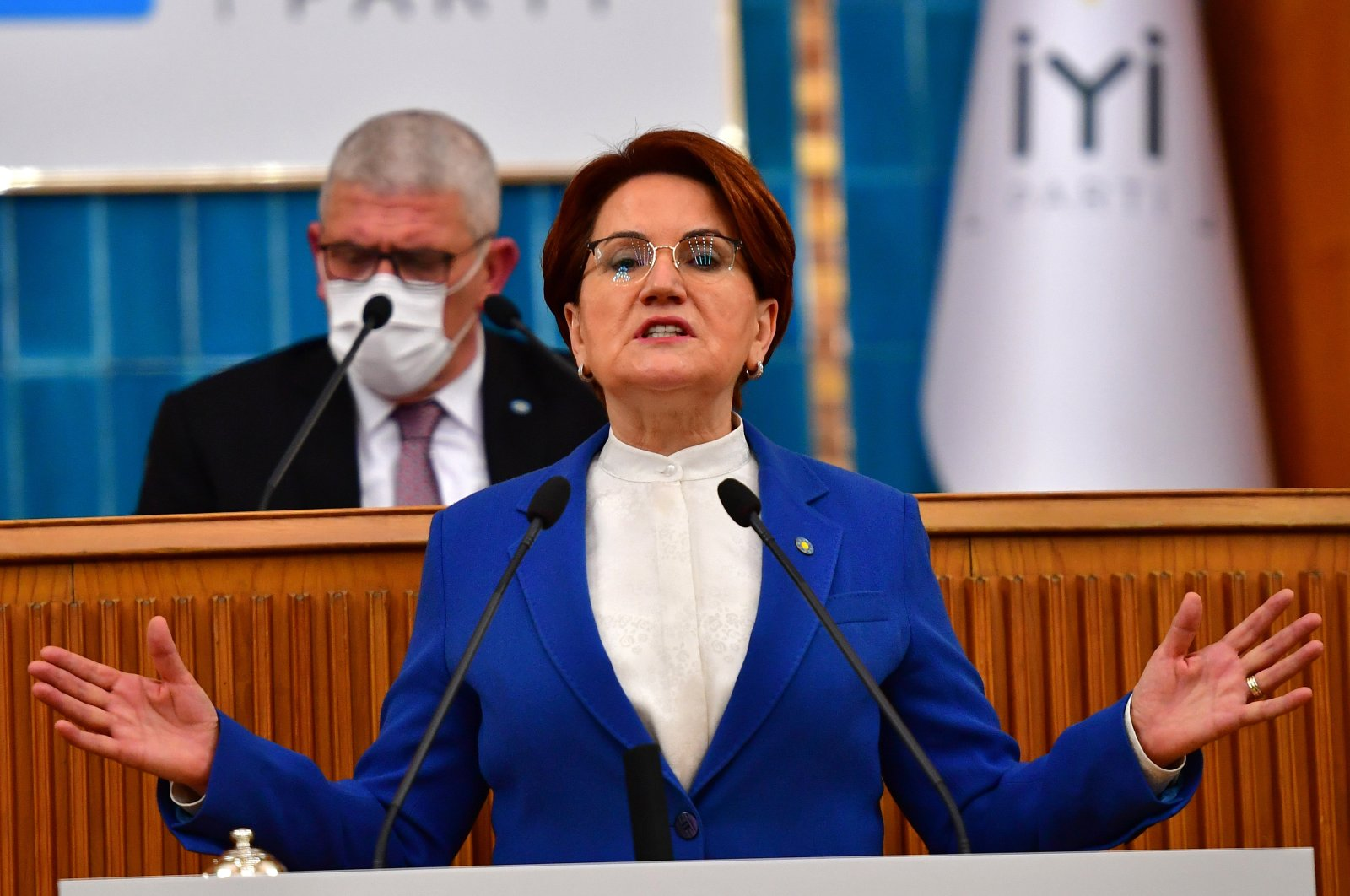 Good Party (IP) Chairperson Meral Akşener speaks at her party's group meeting in the capital Ankara, Turkey, Nov. 11, 2020. (Sabah Archive Photo)