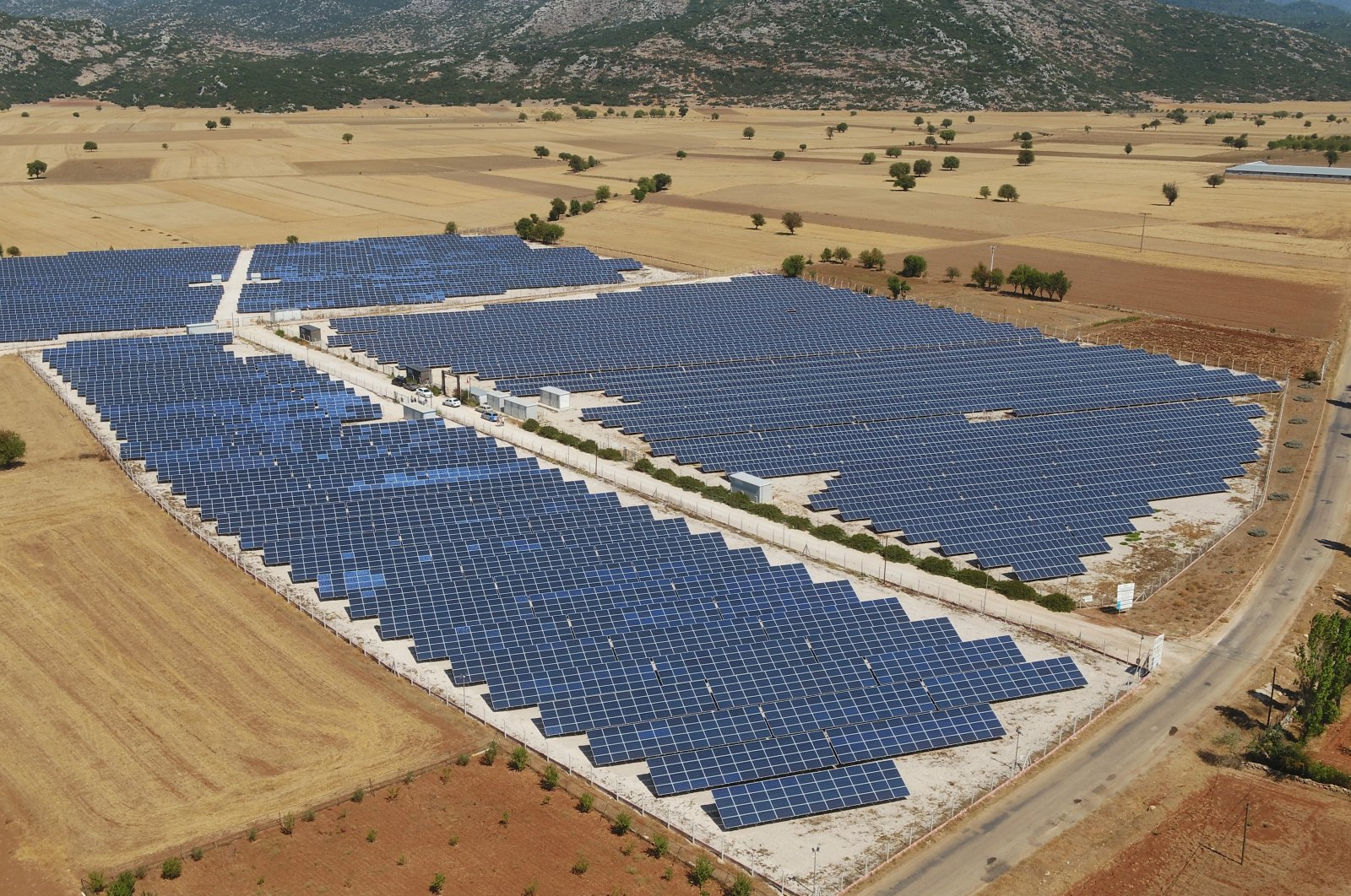 Solar panels are seen in the southern province of Antalya, Sept. 12, 2021. (IHA Photo)