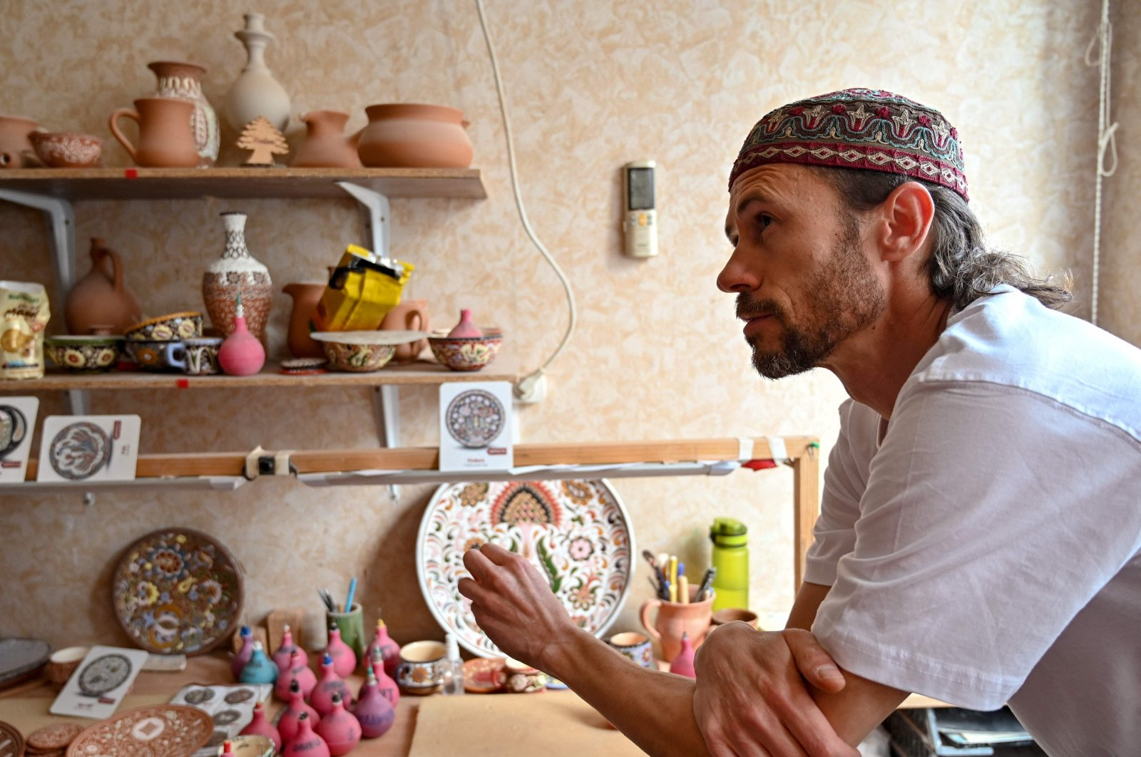 Rustem Skybin, 45, a ceramics artist, attends an interview with AFP at his workshop in Kyiv, Ukraine, Sept. 10, 2021. (AFP Photo)