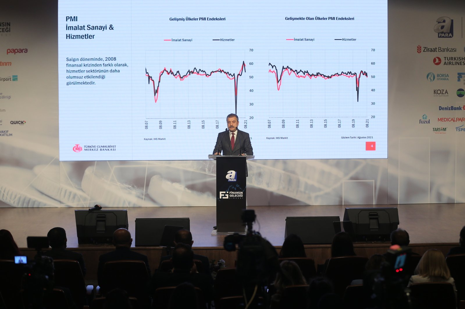 The Central Bank of the Republic of Turkey (CBRT) Governor Şahap Kavcıoğlu speaks during the Future of Finance Summit, organized by the Daily Sabah's parent company Turkuvaz and its broadcaster A Para, in Istanbul, Turkey, Sept. 28, 2021. (AA Photo)