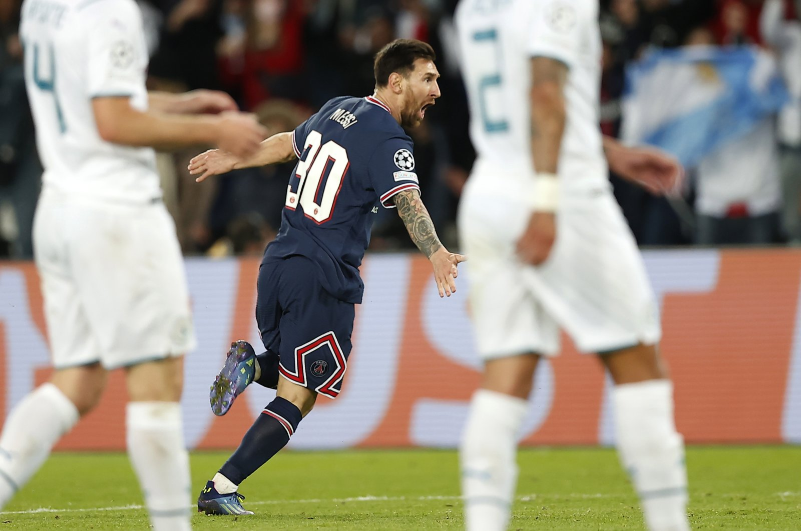 PSG's Lionel Messi celebrates scoring his first goal for his club during a Champions League at the Parc des Princes stadium, in Paris, France, Sept. 28, 2021. (EPA Photo)