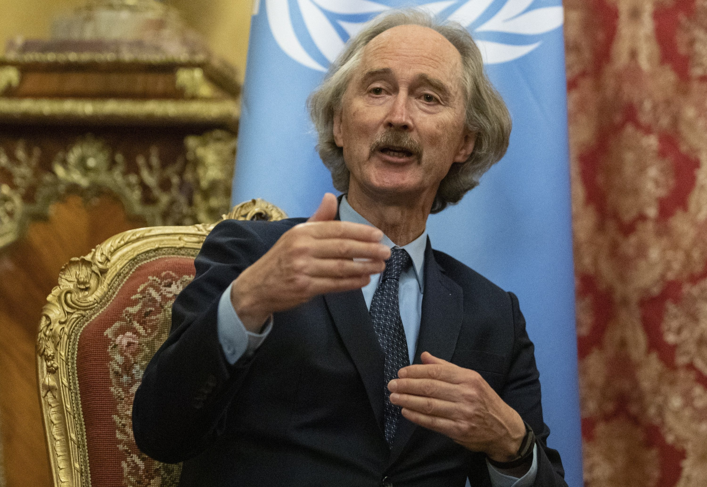 United Nations Special Envoy for Syria Geir Pedersen gestures during a joint news conference with Russian Foreign Minister Sergey Lavrov in Moscow, Russia, July 22, 2021.  (AP Photo)
