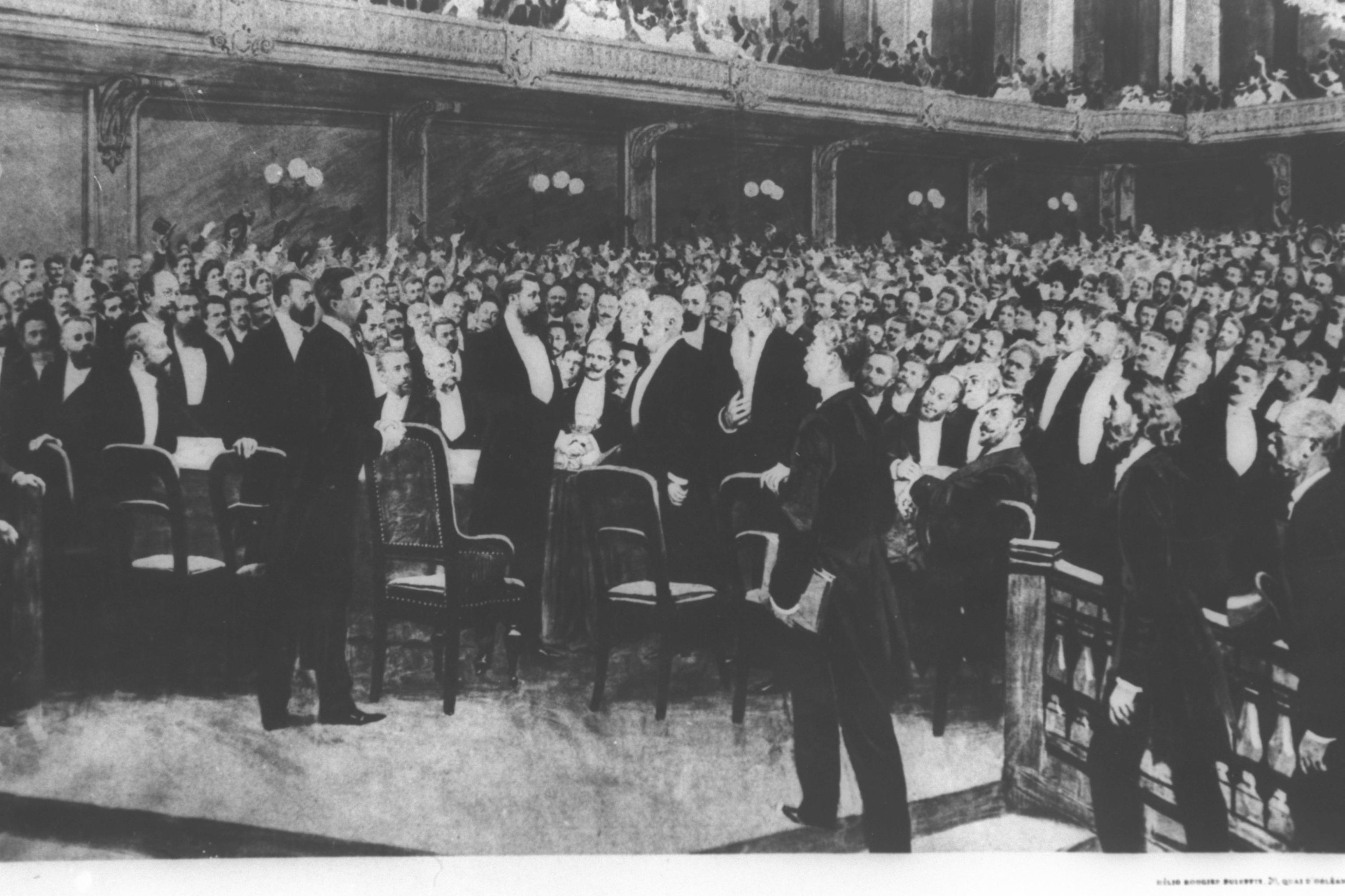 Theodor Herzl at the First Zionist Congress in Basel, Switzerland, Aug. 25, 1897. (Wikimedia Photo)
