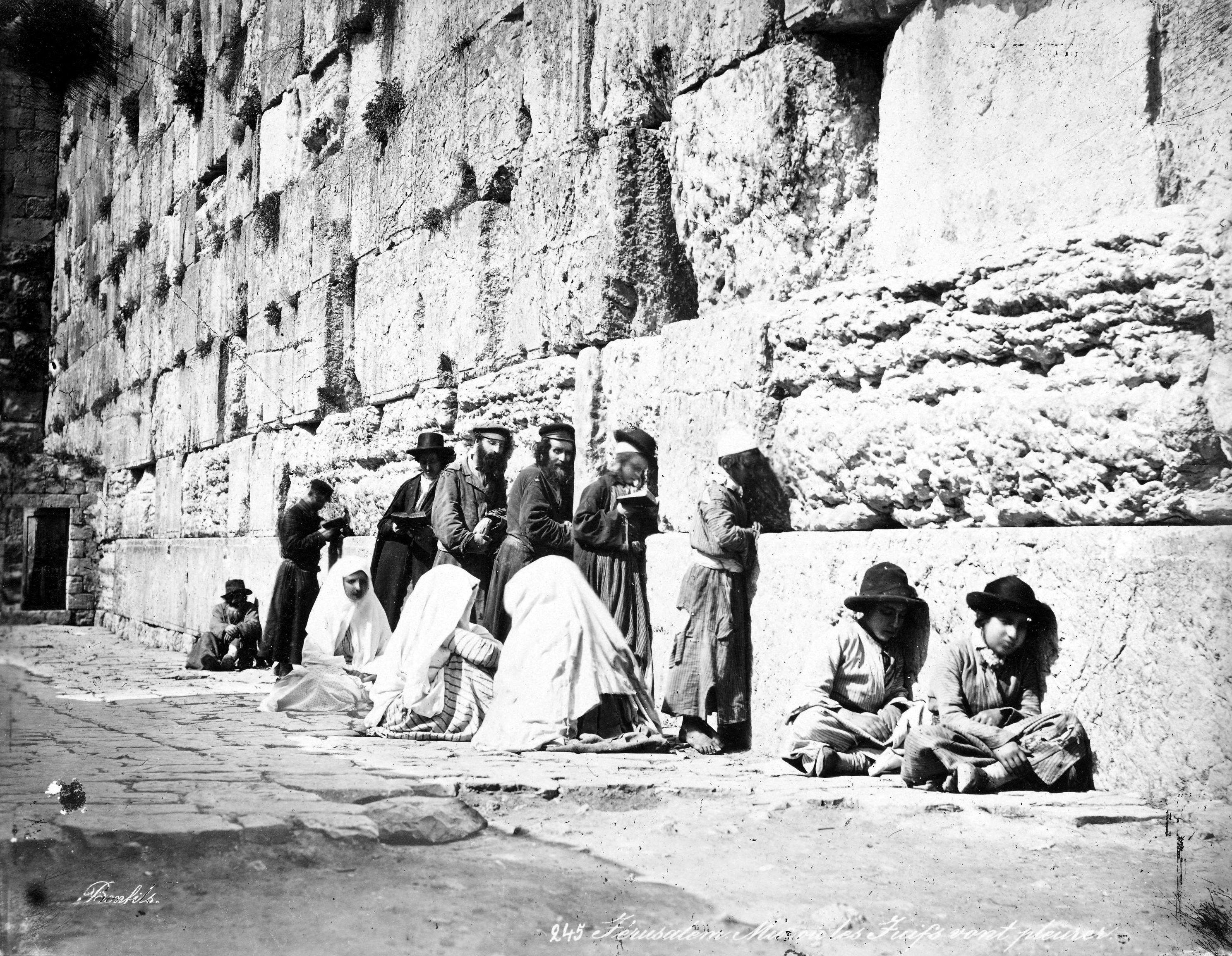 Jews at the Western Wall, Felix Bonfils, Albumen silver print, 1870s. (Wikimedia Photo)
