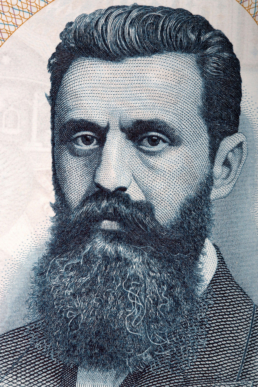 The portrait of Zionist figure Theodor Herzl taken from old Israeli currency. (Shutterstock Photo)