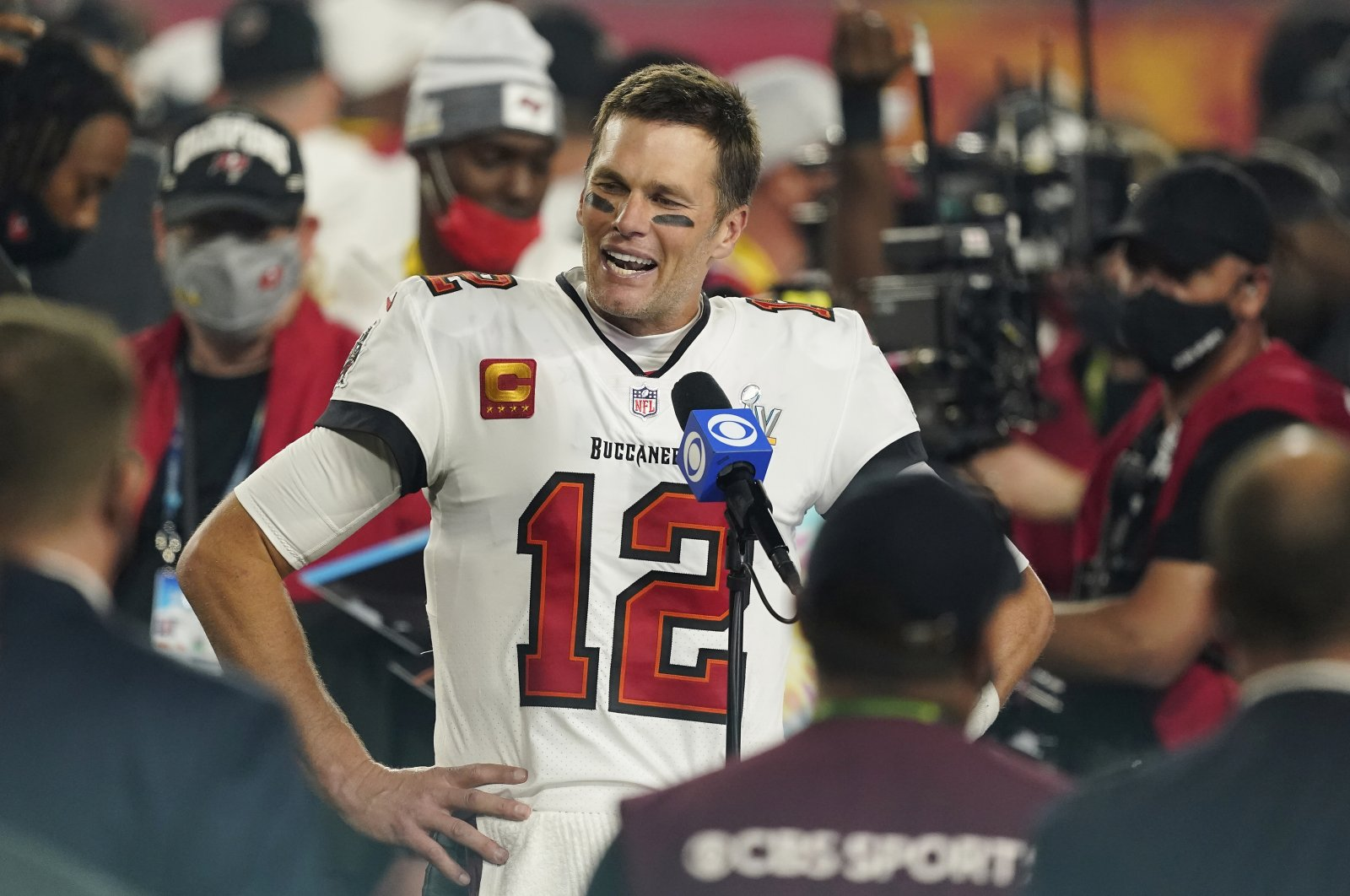 Tampa Bay Buccaneers quarterback Tom Brady (C) speaks after the NFL Super Bowl 55 against the Kansas City Chiefs, in Tampa, Florida, U.S., Feb. 7, 2021. (AP Photo)