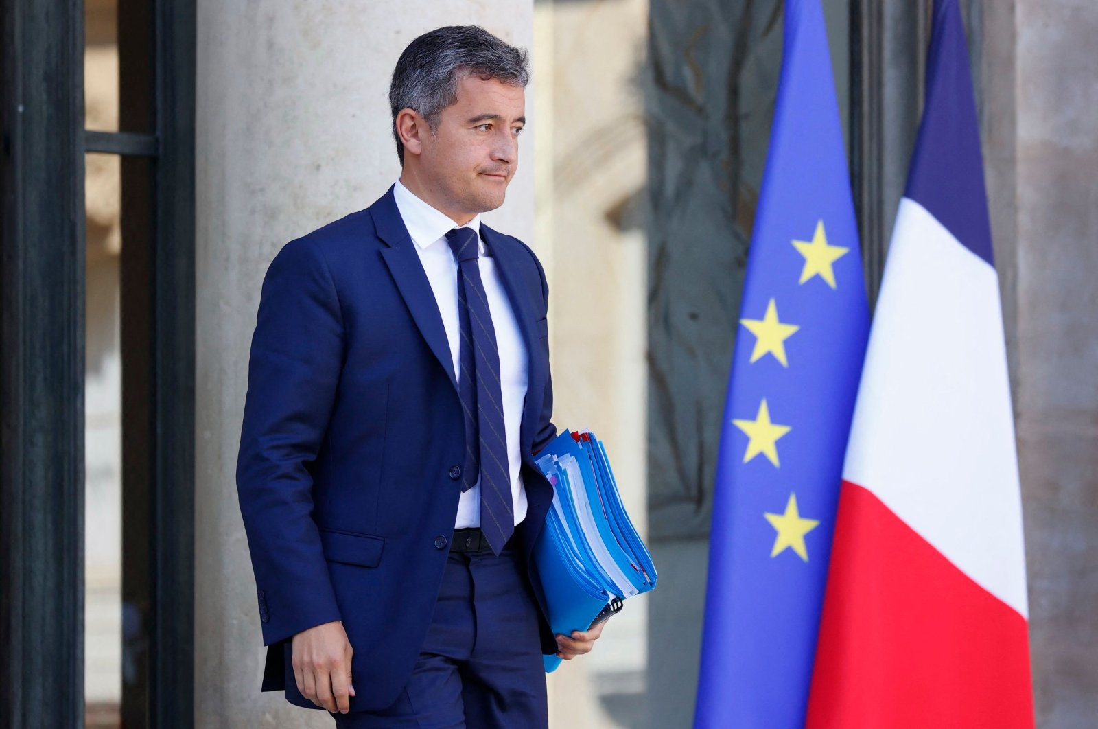 French Interior Minister Gerald Darmanin reacts as he leaves the French Presidential Palace after a weekly Cabinet meeting, Paris, France, Sept. 22, 2021. (AFP Photo)