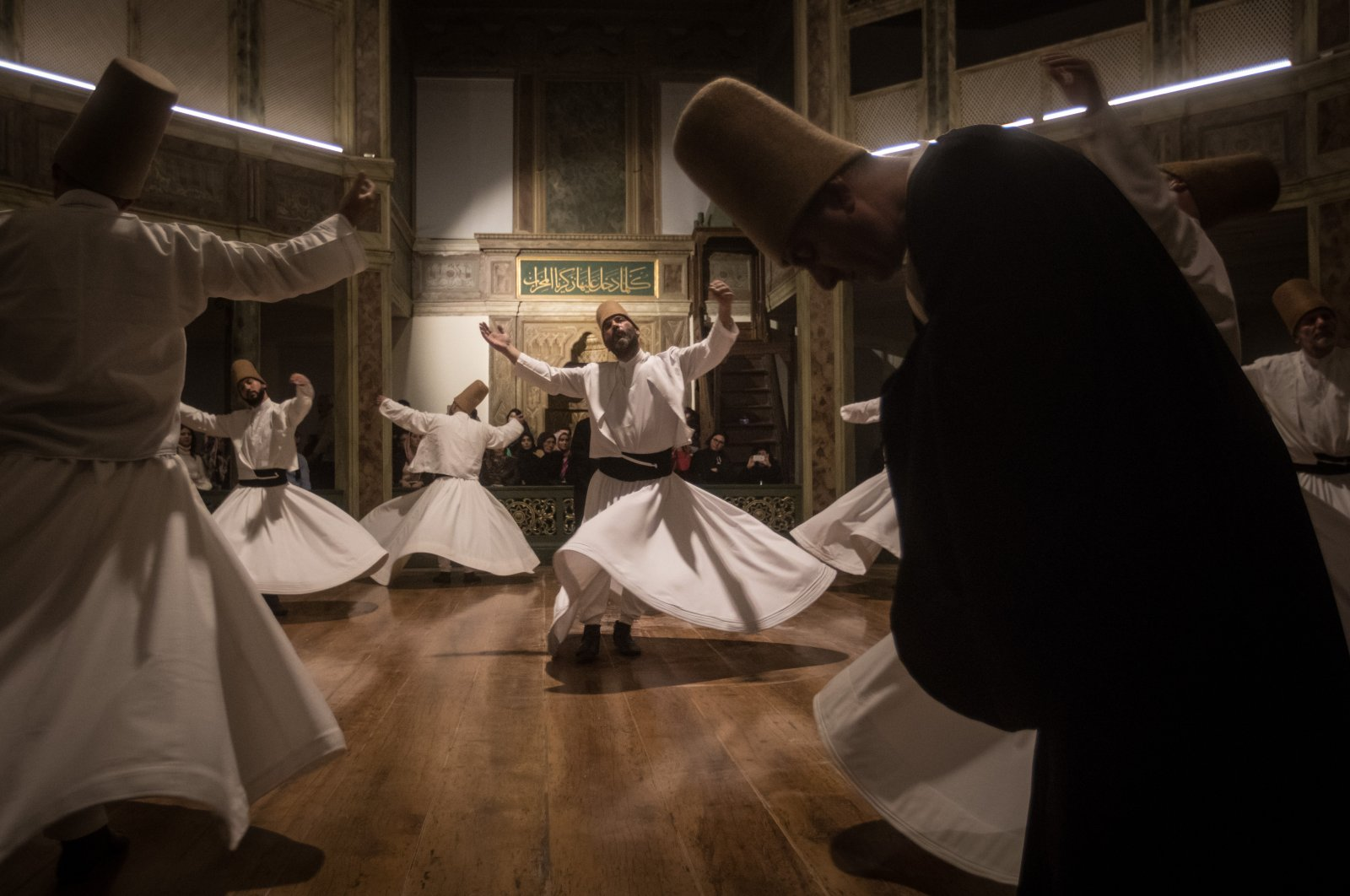 Whirling Dervishes take part in a Sama ceremony marking the anniversary of the death of Mevlana Jalaluddin Rumi, Istanbul, Turkey, Dec. 17, 2017. (Getty Images Photo)