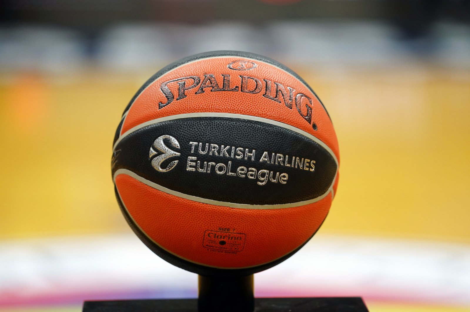 A THY EuroLeague official match ball is on display in Istanbul, Turkey, Sept. 29, 2021.