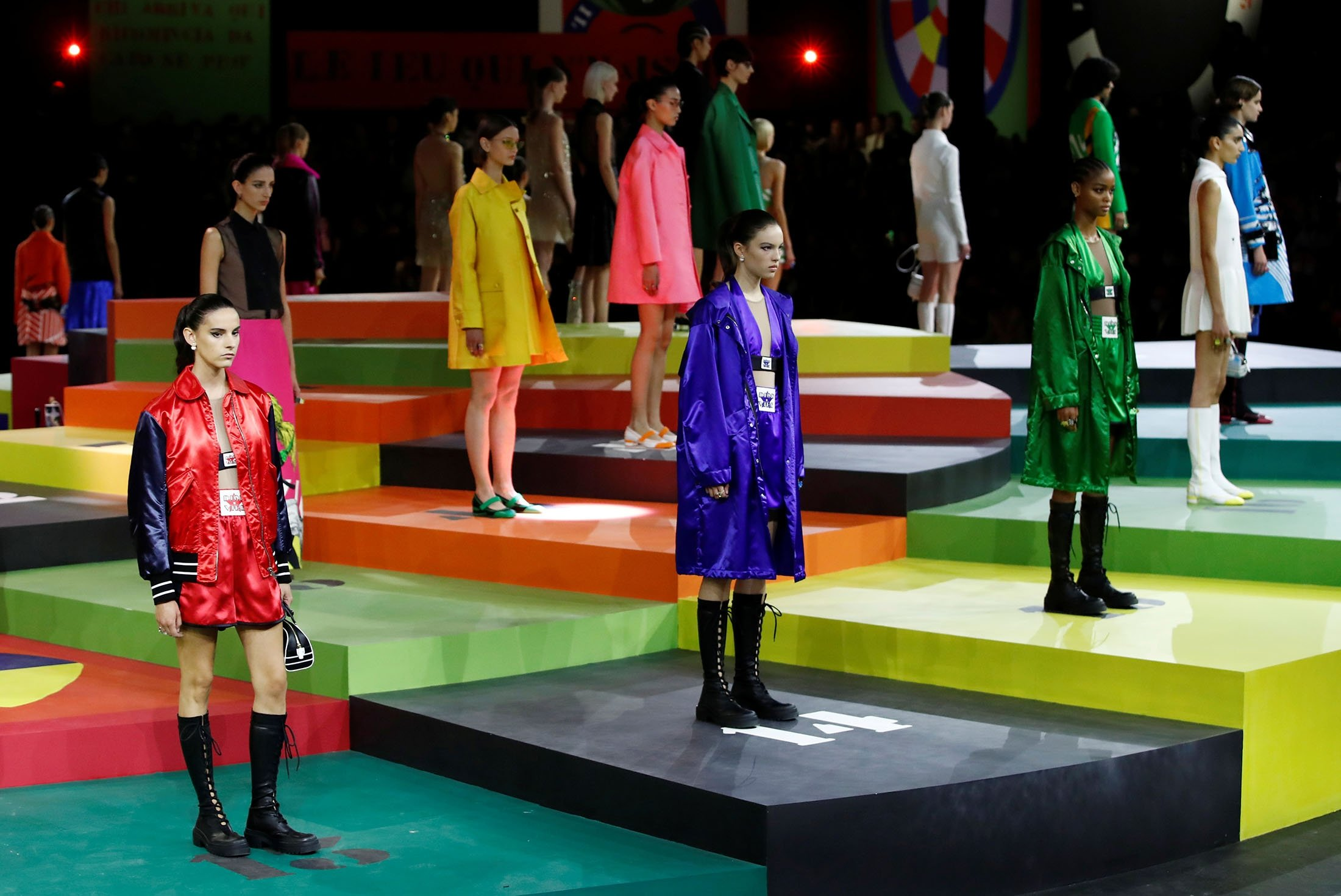 Models present creations by designer Maria Grazia Chiuri as part of fashion house Dior's show during Paris Fashion Week in Paris, France, Sept. 28, 2021. (Reuters Photo)