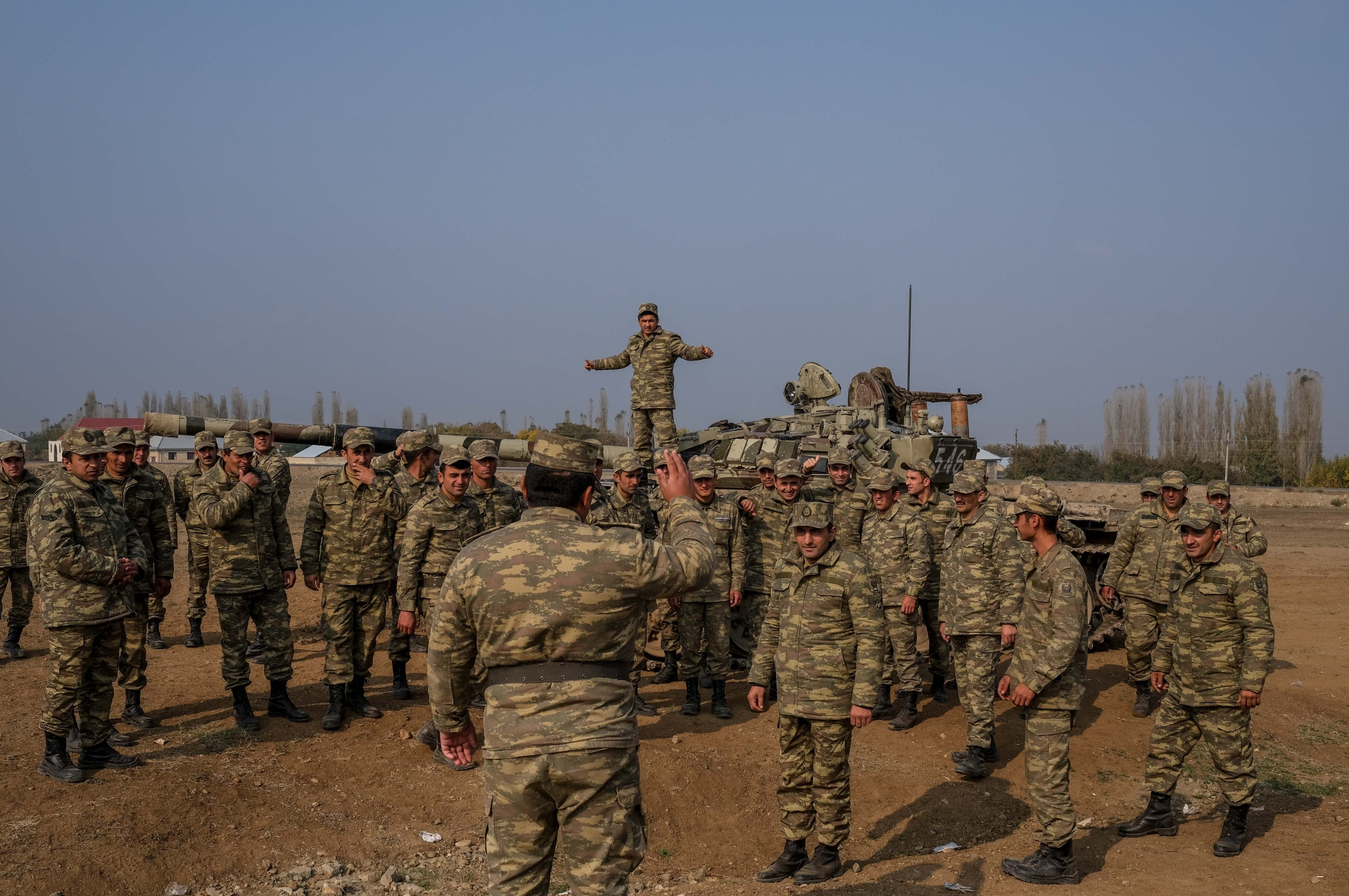 Soldiers gather during the Karabakh War to liberate Azerbaijani lands that are occupied by Armenia for 30 years, in Nagorno-Karabakh, Azerbaijan on Nov. 15, 2020. (Sabah Archive Photo)