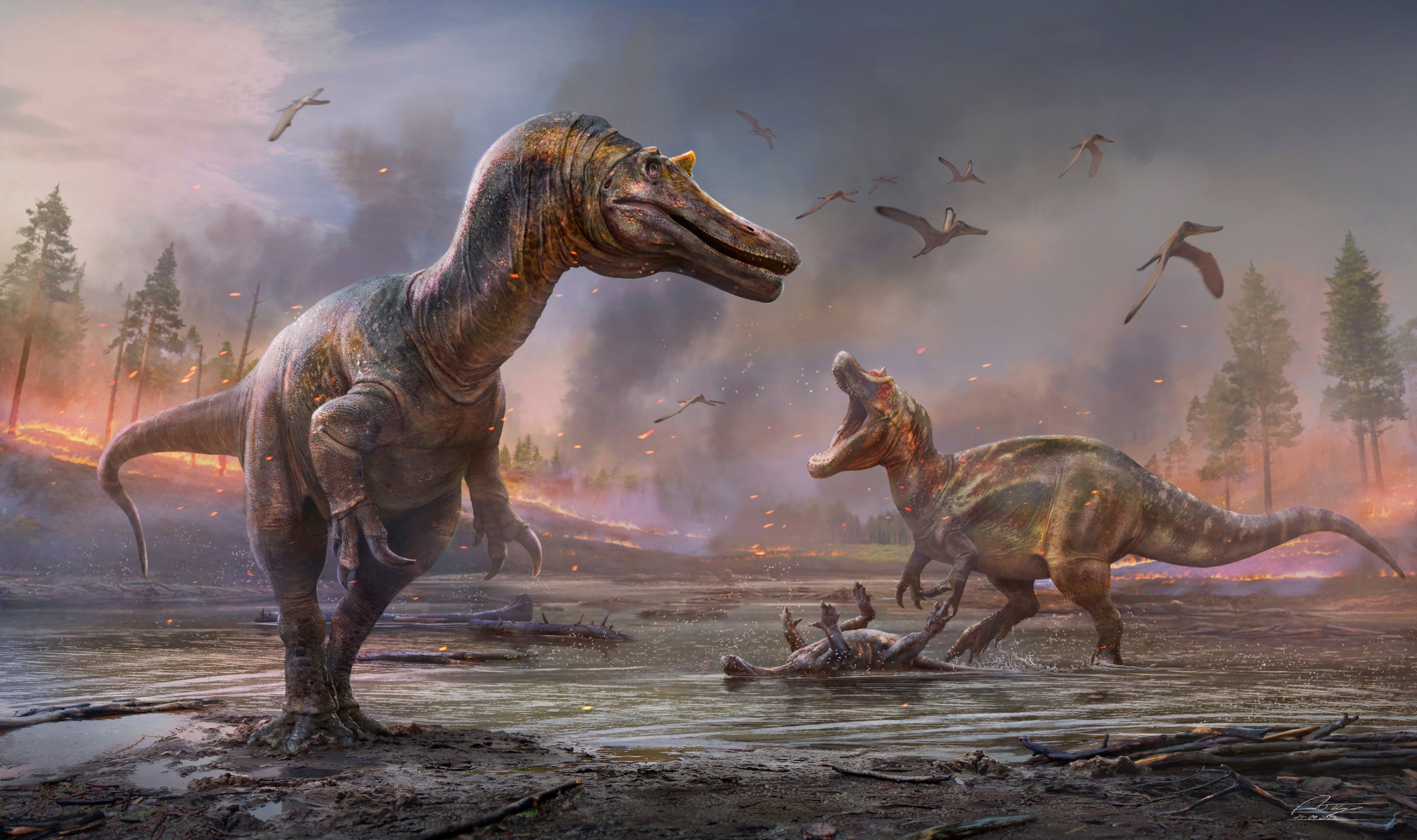 The meat-eating dinosaurs Ceratosuchops inferodios (foreground), and Riparovenator milnerae, are seen in an undated artist's rendition. (Anthony Hutchings via Reuters)