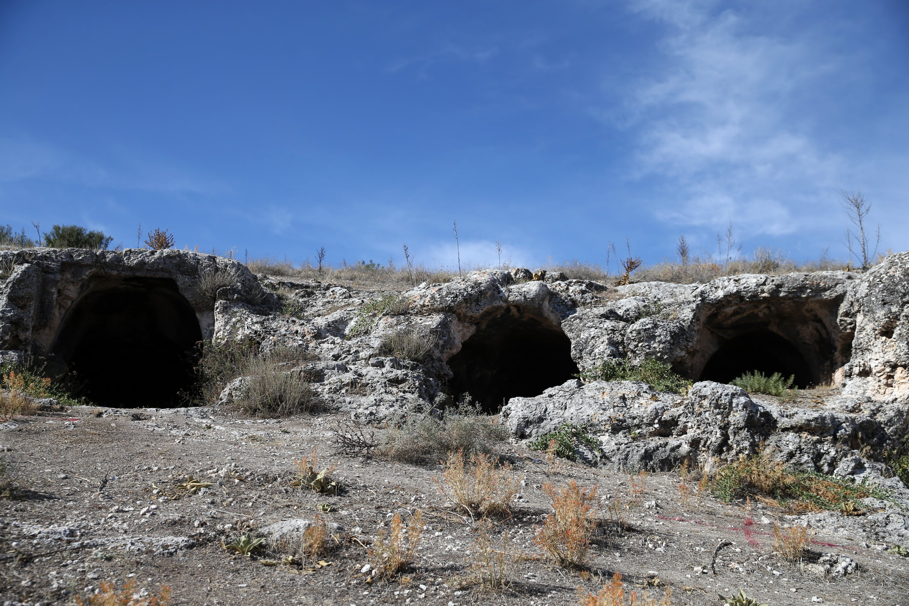 An outside view from the rock tombs in the ancient city ofBlaundus, Uşak, western Turkey, Sept. 29, 2021. (AA Photo)